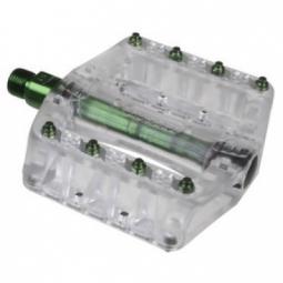 gusset paire de pedales pin head picots acier vert transparent