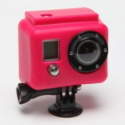 xsories etui de protection silicon rose pour camera gopro hero et hero2