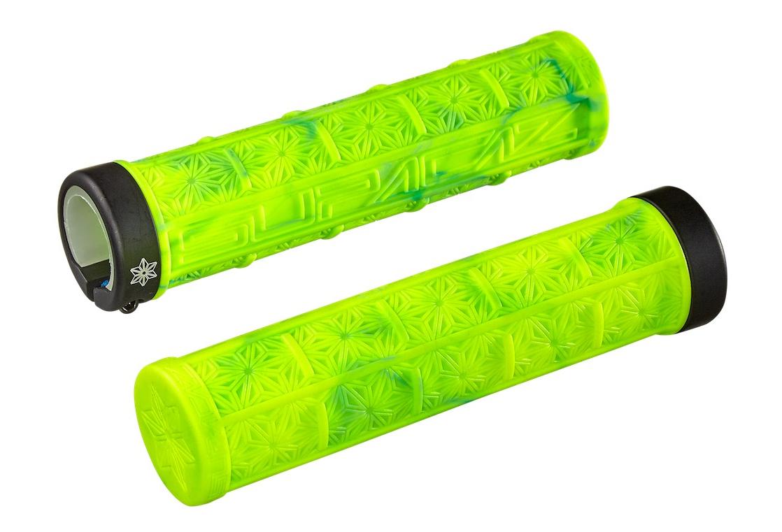 SUPACAZ SPLASH GRIZIPS 32mm Lock-on MTB Grips Neon Red//Yellow Splash