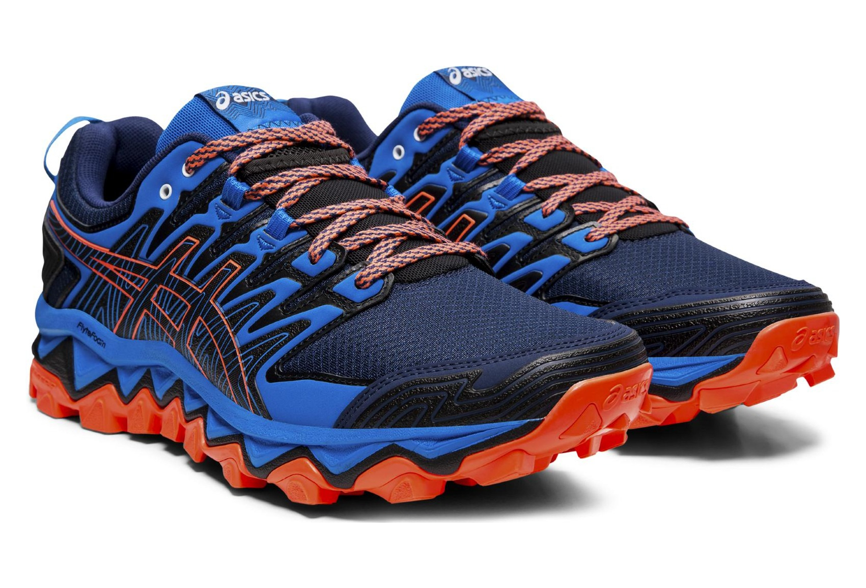 asics bleu orange noir