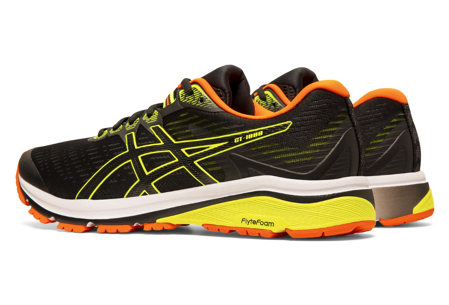 chaussures de sport 5fd6d 9ee0d Asics GT-1000 8 Black Yellow Orange Men
