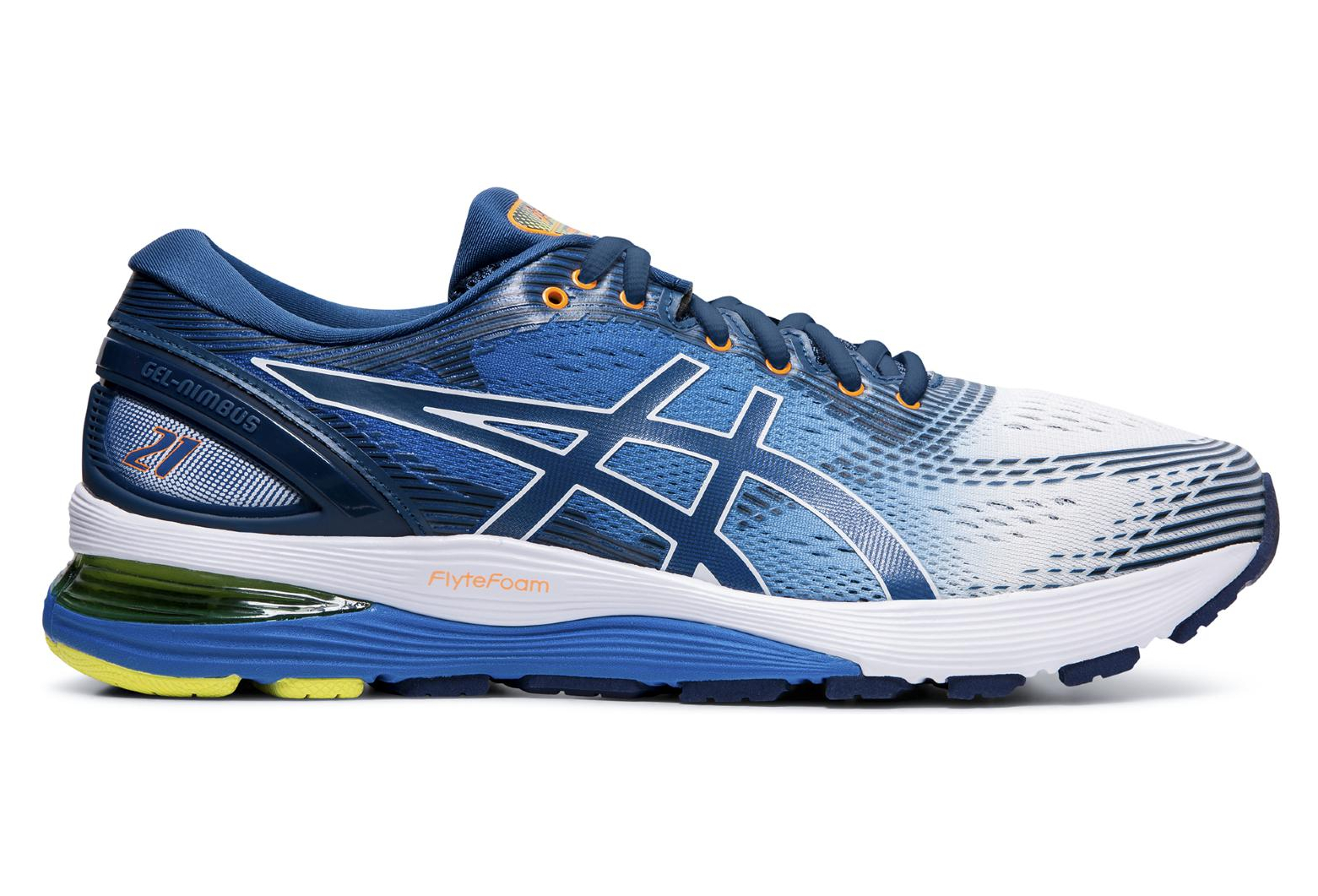 Asics Gel Nimbus 21 White Blue Men