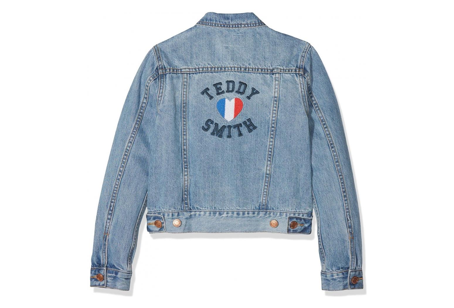 coupe classique e16d4 361b8 Veste en jean bleu fille Teddy Smith