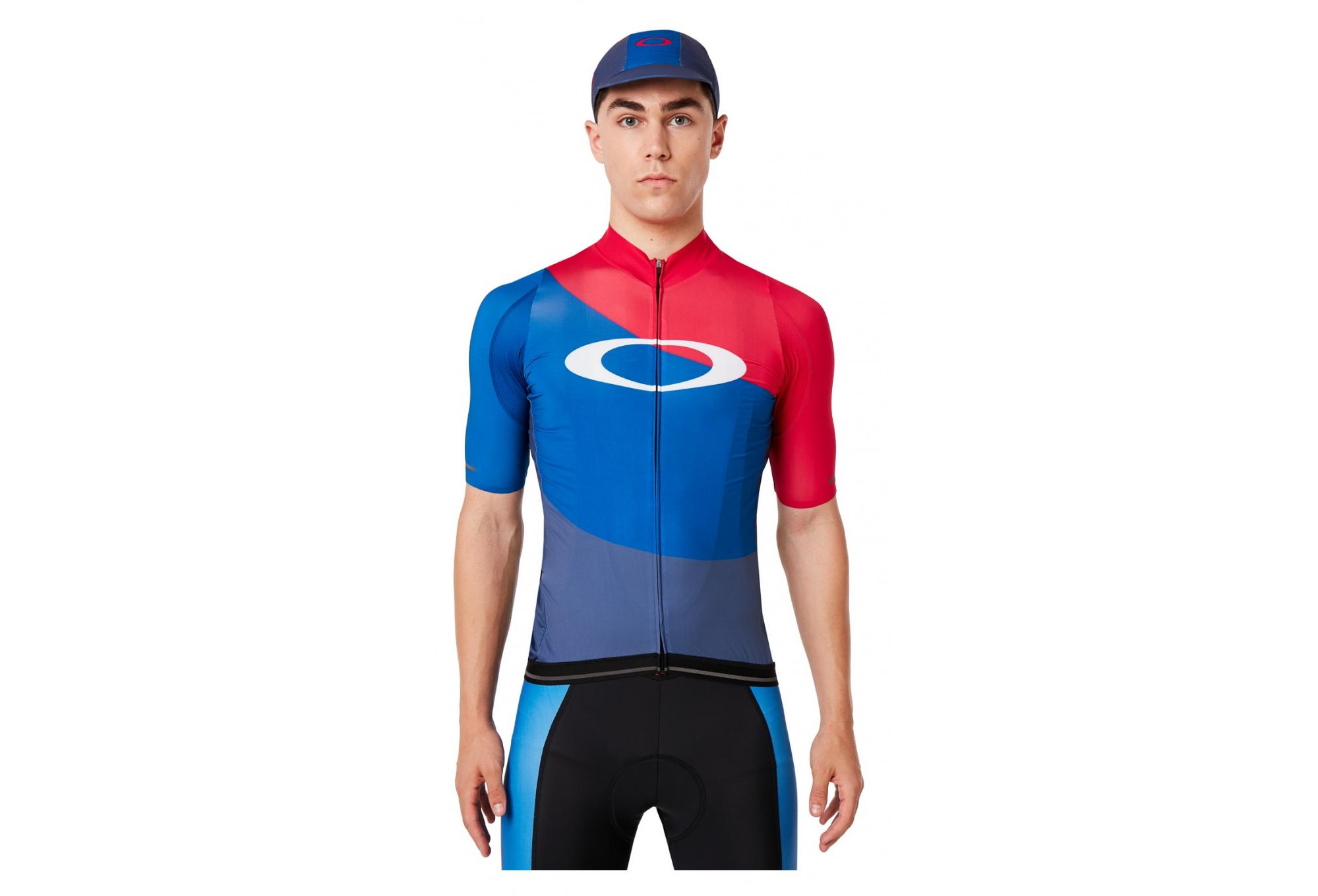 lega Grado Celsius buio  Oakley Aero Foggy Blue / Blue / Red Short Sleeve Jersey   Alltricks.com