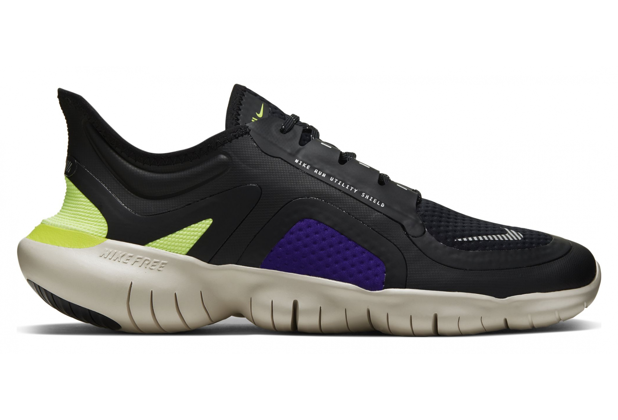 Chaussures de Running Homme NIKE Free RN 5.0 Shield Noir Jaune Violet