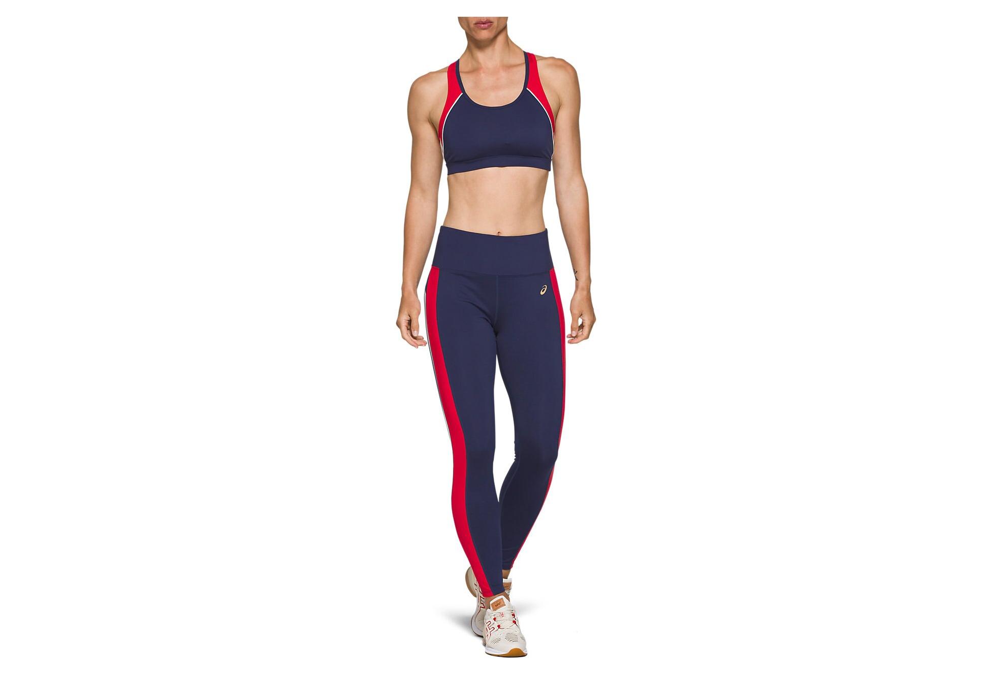 Asics Retro Tokyo Running Women's Long Tights Blue Red
