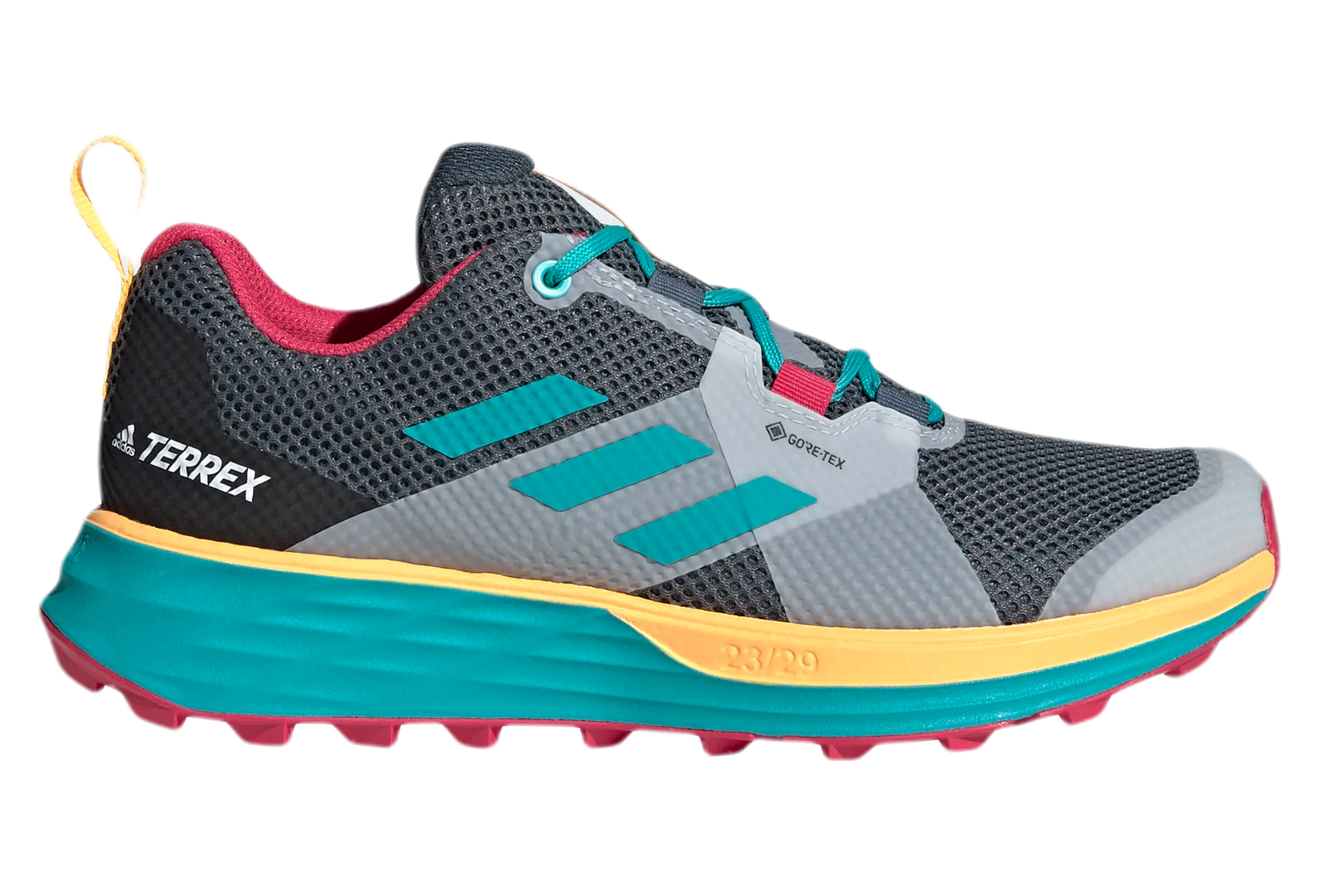 Adidas Terrex Two Gore-Tex Trail Running Shoes Gray Blue Pink