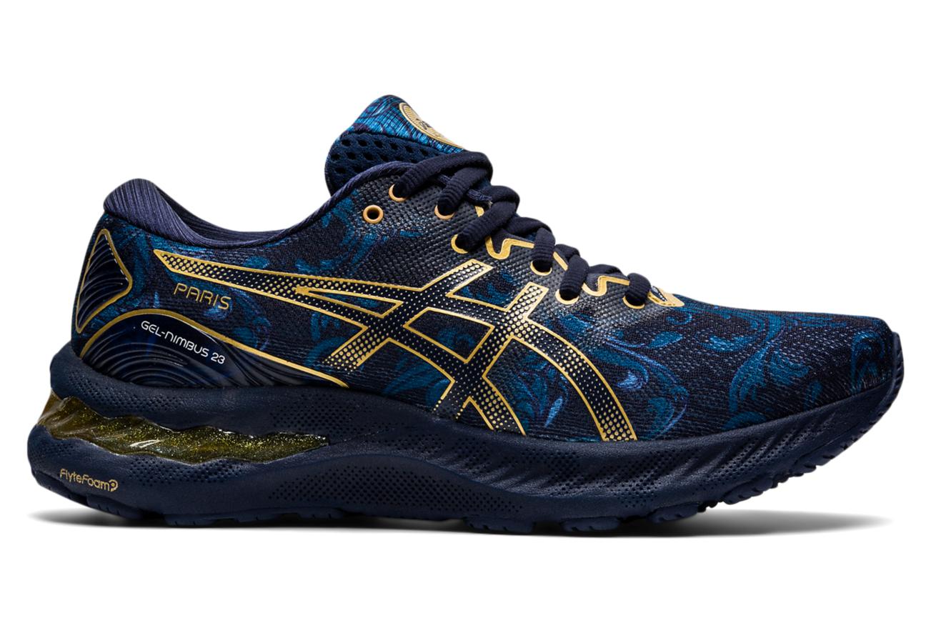 Asics Gel Nimbus 23 Women's Running Shoes Paris Marathon 2021 Blue Gold