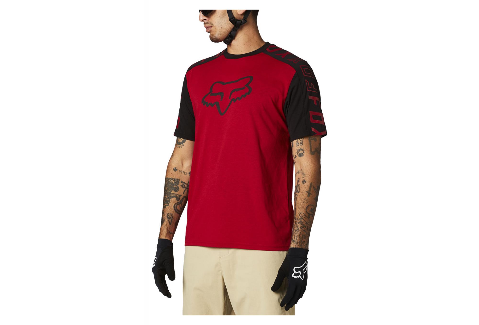 Maglietta Fox Altitude Nero Rosso maniche corte MTB mountain bike enduro