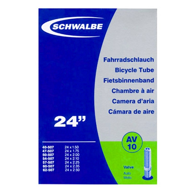 Schwalbe av10 chambre air v lo 24 pouces valve schrader for Chambre a air velo dimension
