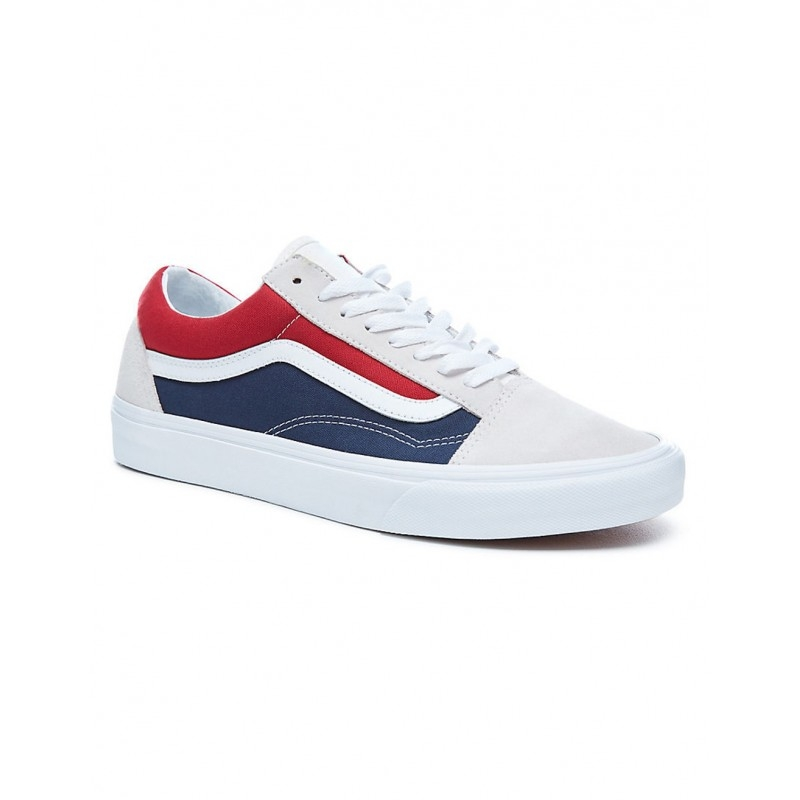 9ce728a302 Chaussures Vans U Old Skool Retro Block - White Red   Dress Blues ...