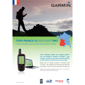 Garmin TOPO France V3 SOUTHWEST DVD + Micro SD Card preloaded
