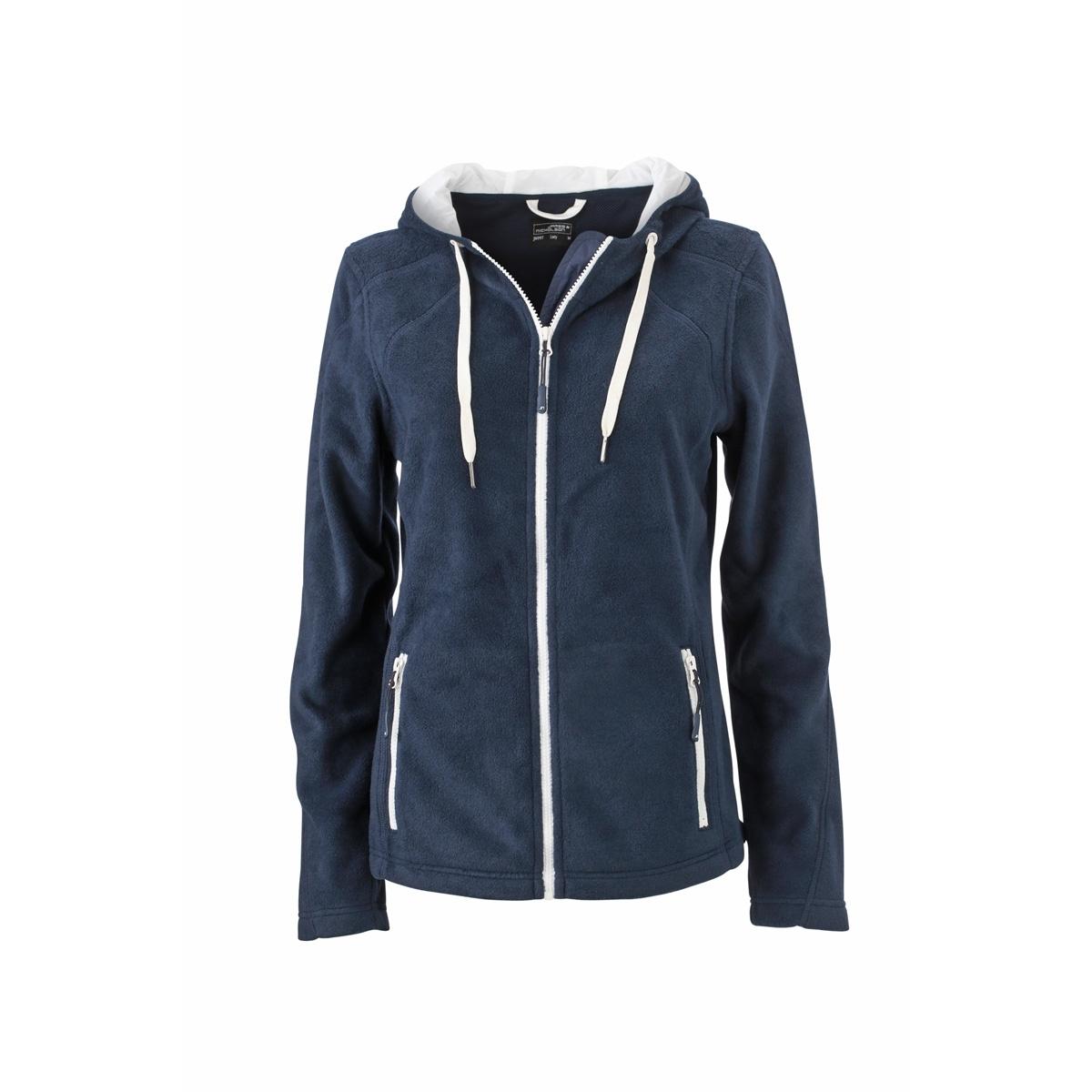 79b95c9b0e James et Nicholson Veste polaire zippée capuche contrastée FEMME JN997 -  bleu marine