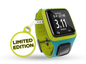 tomtom montre runner gps edition limit e bleu vert. Black Bedroom Furniture Sets. Home Design Ideas