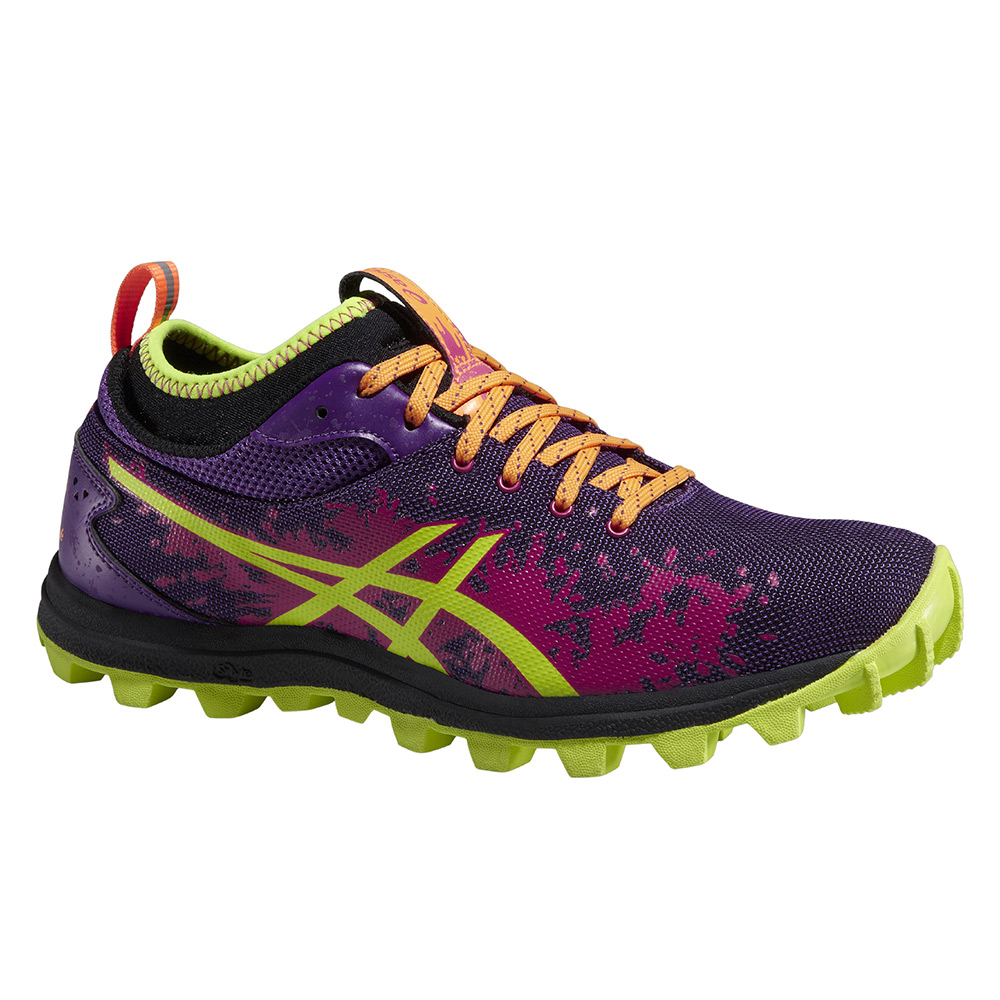 chaussures de trail femme asics gel fujirunnegade jaune violet rose. Black Bedroom Furniture Sets. Home Design Ideas