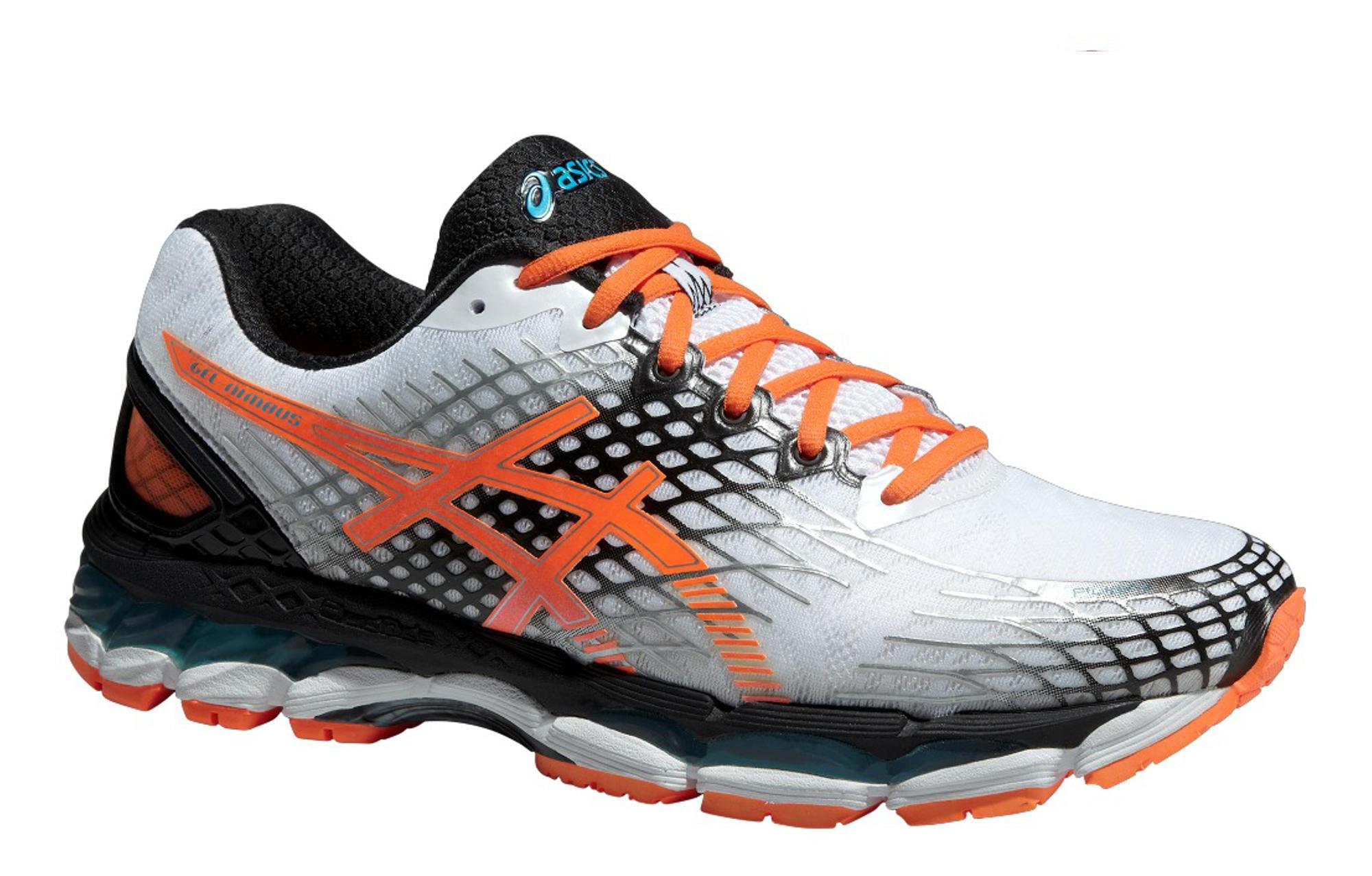 chaussures asics gel-nimbus 17 blanc orange noir