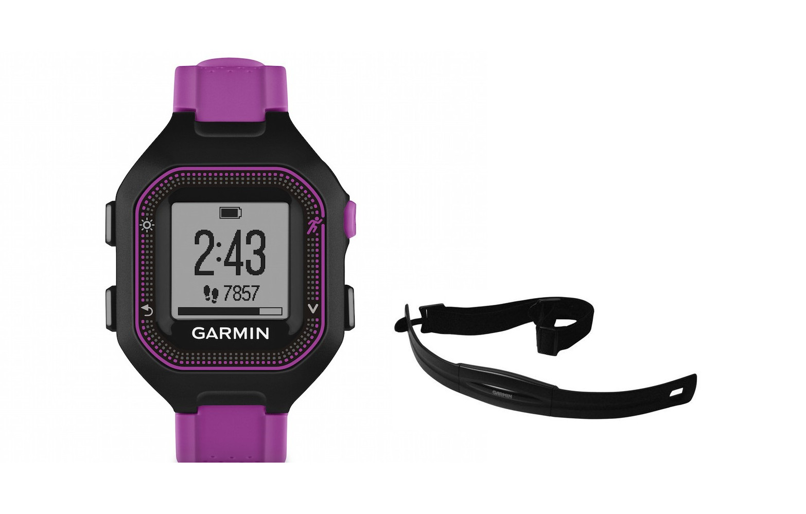 garmin montre gps forerunner 25 pack hrm noir violet. Black Bedroom Furniture Sets. Home Design Ideas