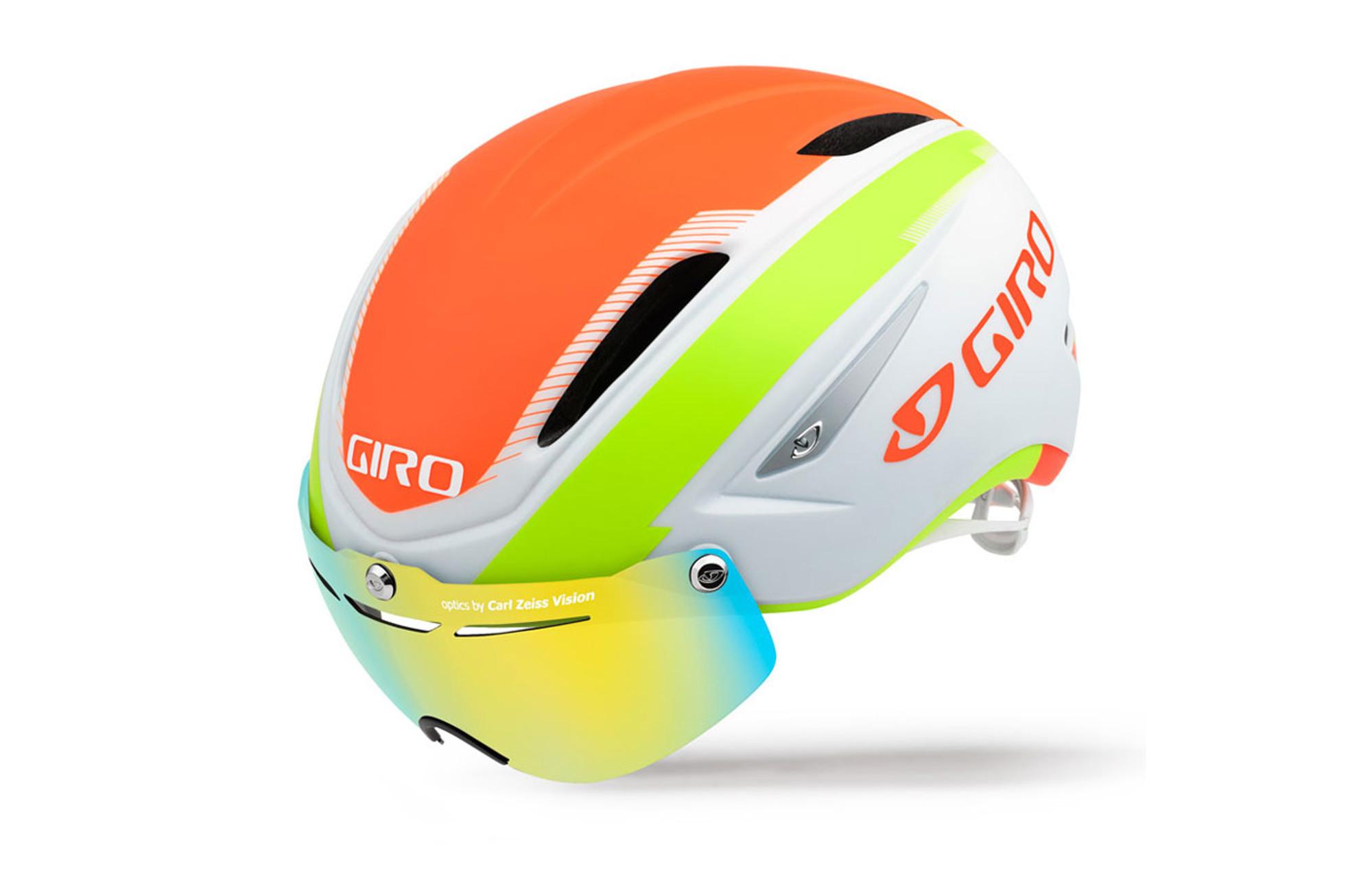 Casque Giro Air Attack Shield Blanc Vert Orange Alltricksfr