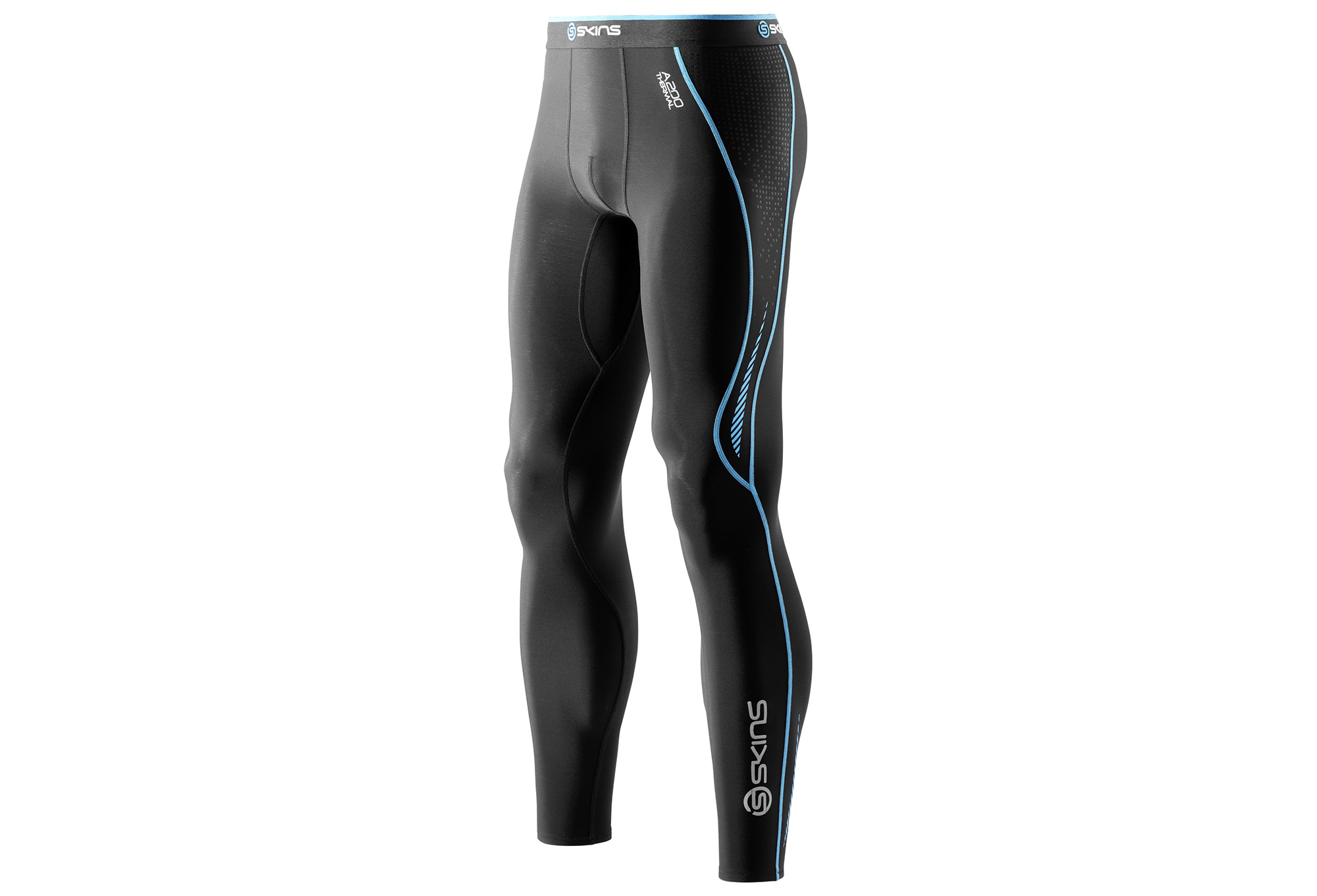bf9d280448545 SKINS A200 Mens Black/Neon Blue Thermal Long Tights | Alltricks.com