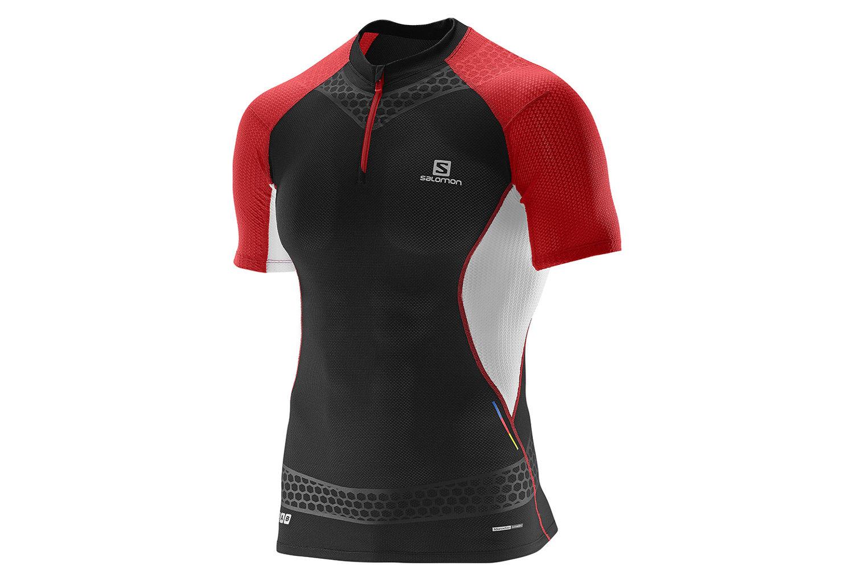 3fccaec776 Camiseta SALOMON S-LAB EXO ZIP Hombre Negro Rojo Blanco