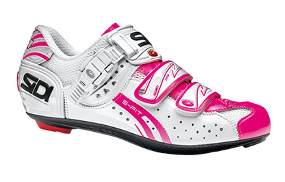 Chaussures de vélo femme Sidi Genius 7 Blanc-Blanc-Rose Fluorescent