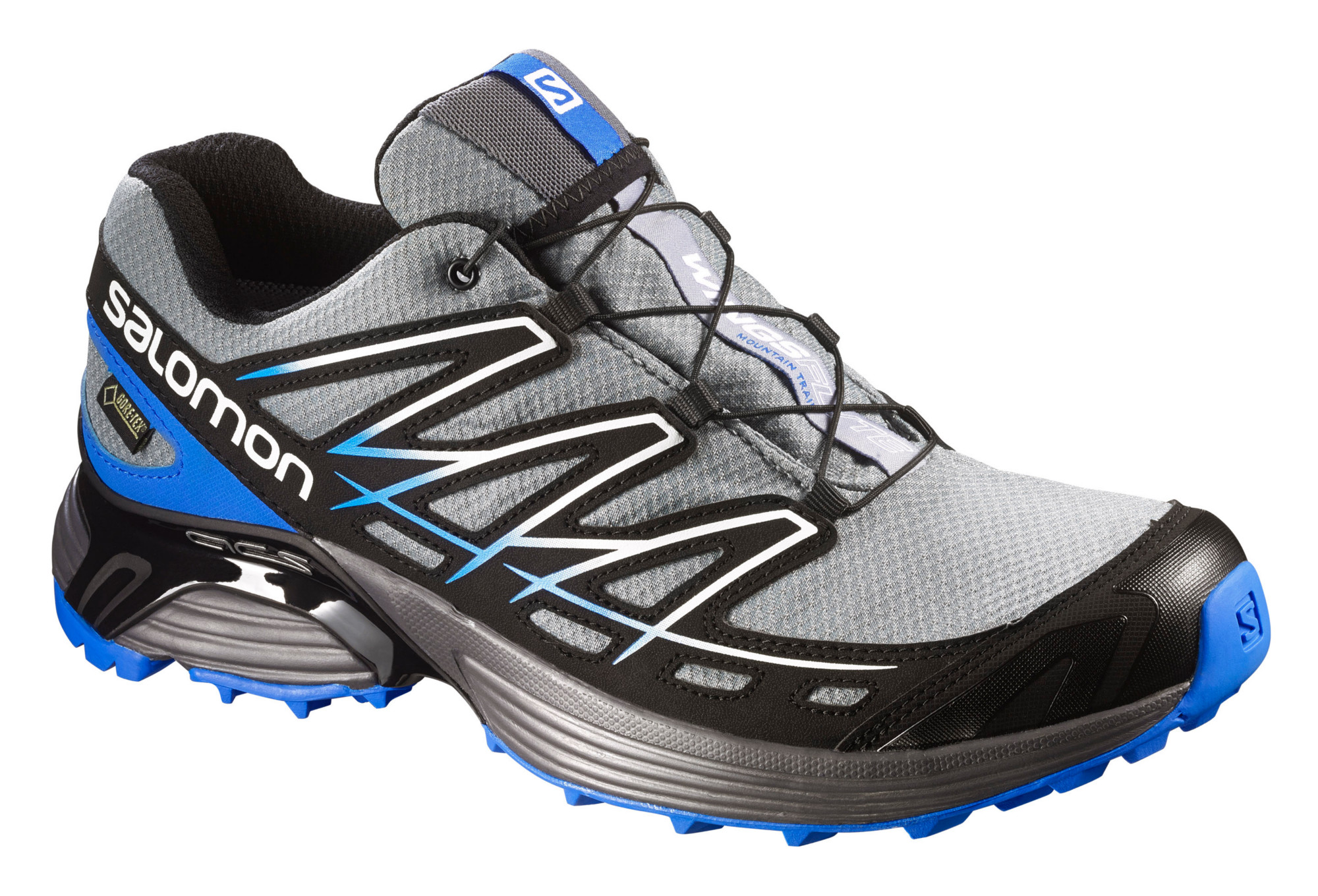 chaussures de trail salomon wings flyte gtx noir bleu gris. Black Bedroom Furniture Sets. Home Design Ideas