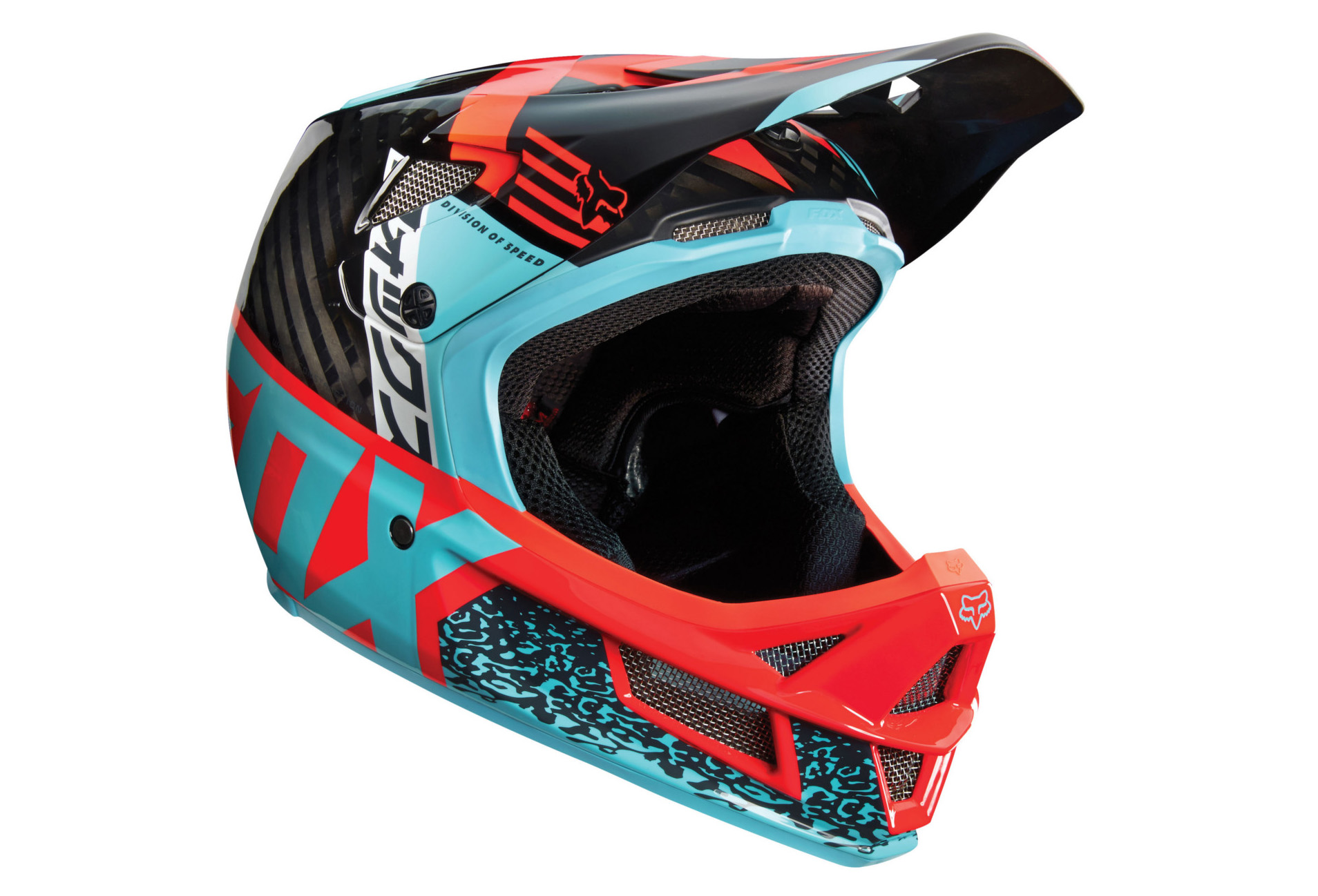 FOX Full Face Helmet Rampage Pro Carbon DIVIZION MIPS Aqua Green Red