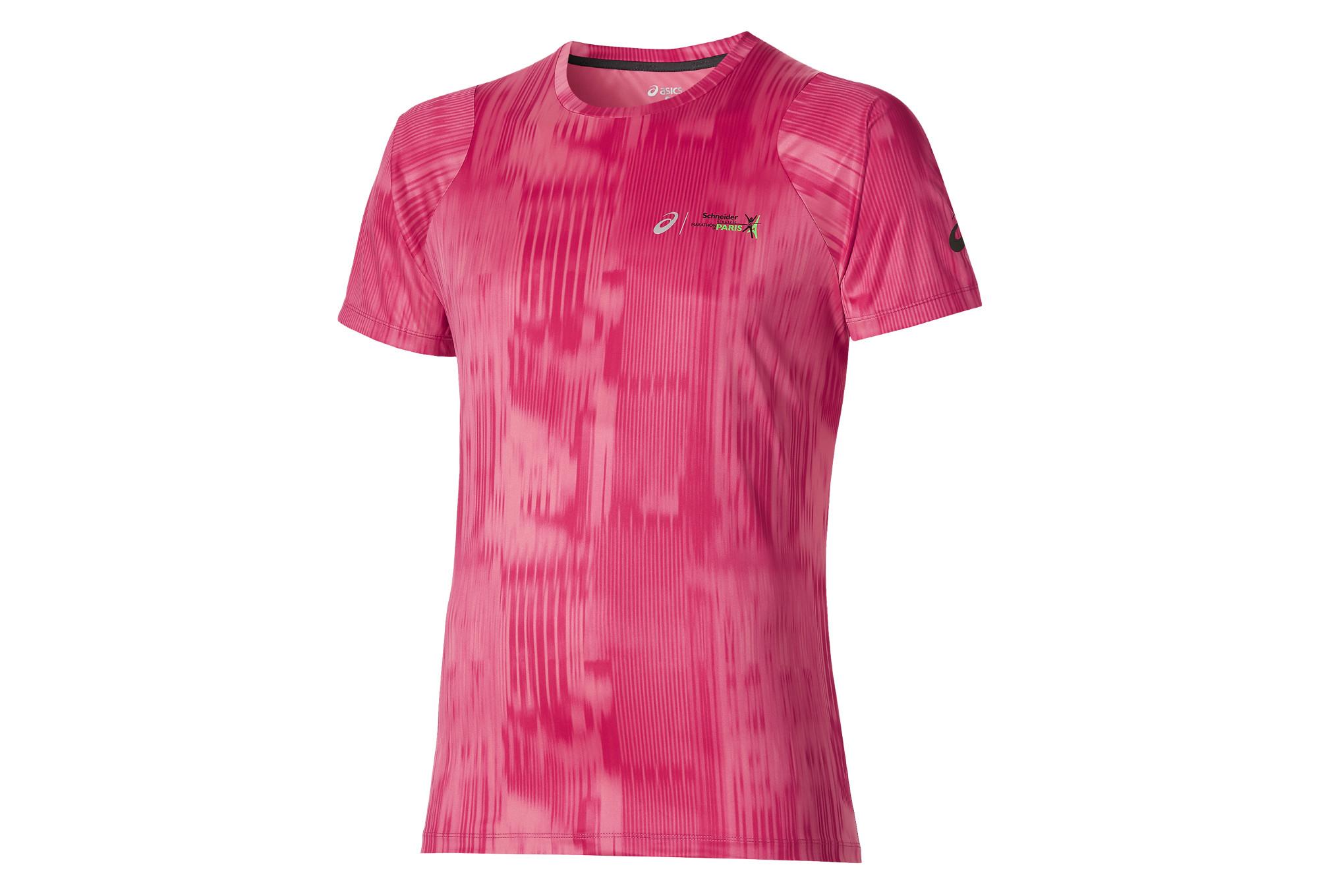 Asics t shirt fuzex printed schneider marathon de paris for Marathon t shirt printing