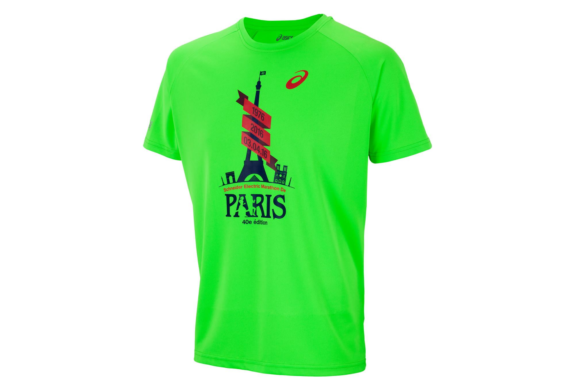 Asics t shirt printed schneider marathon de paris green for Marathon t shirt printing