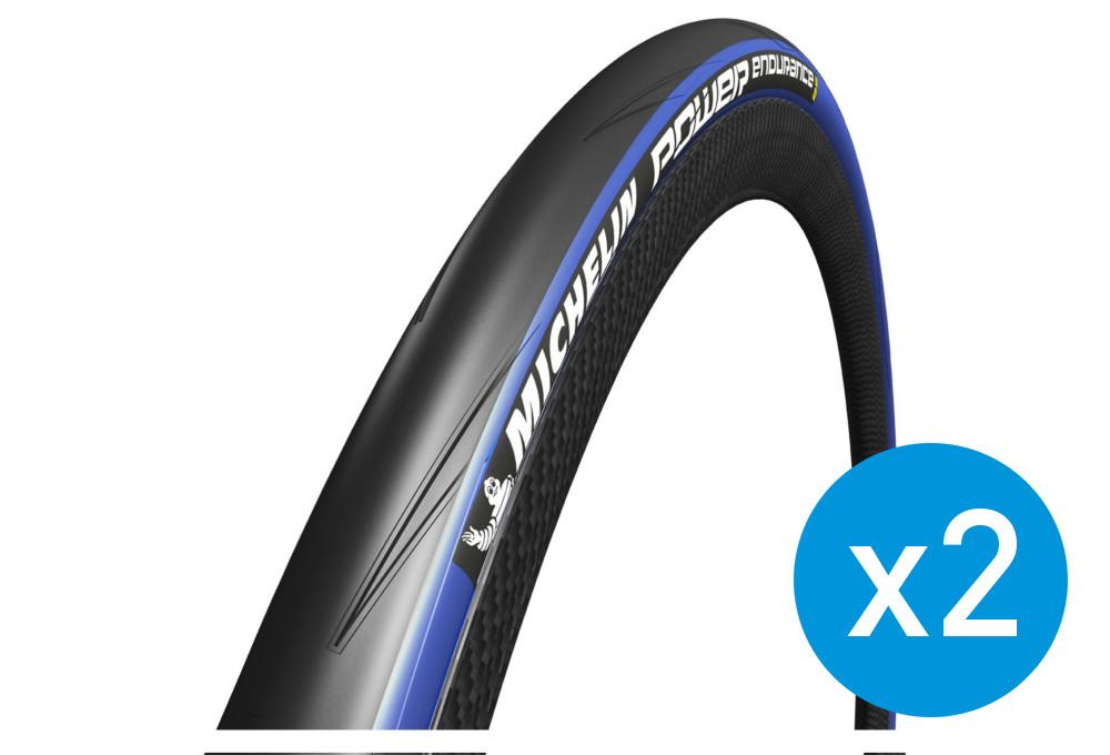 Pneu D été >> Michelin Pack De 2 Pneus Power Endurance 700 Mm Souple Bleu 23 Mm