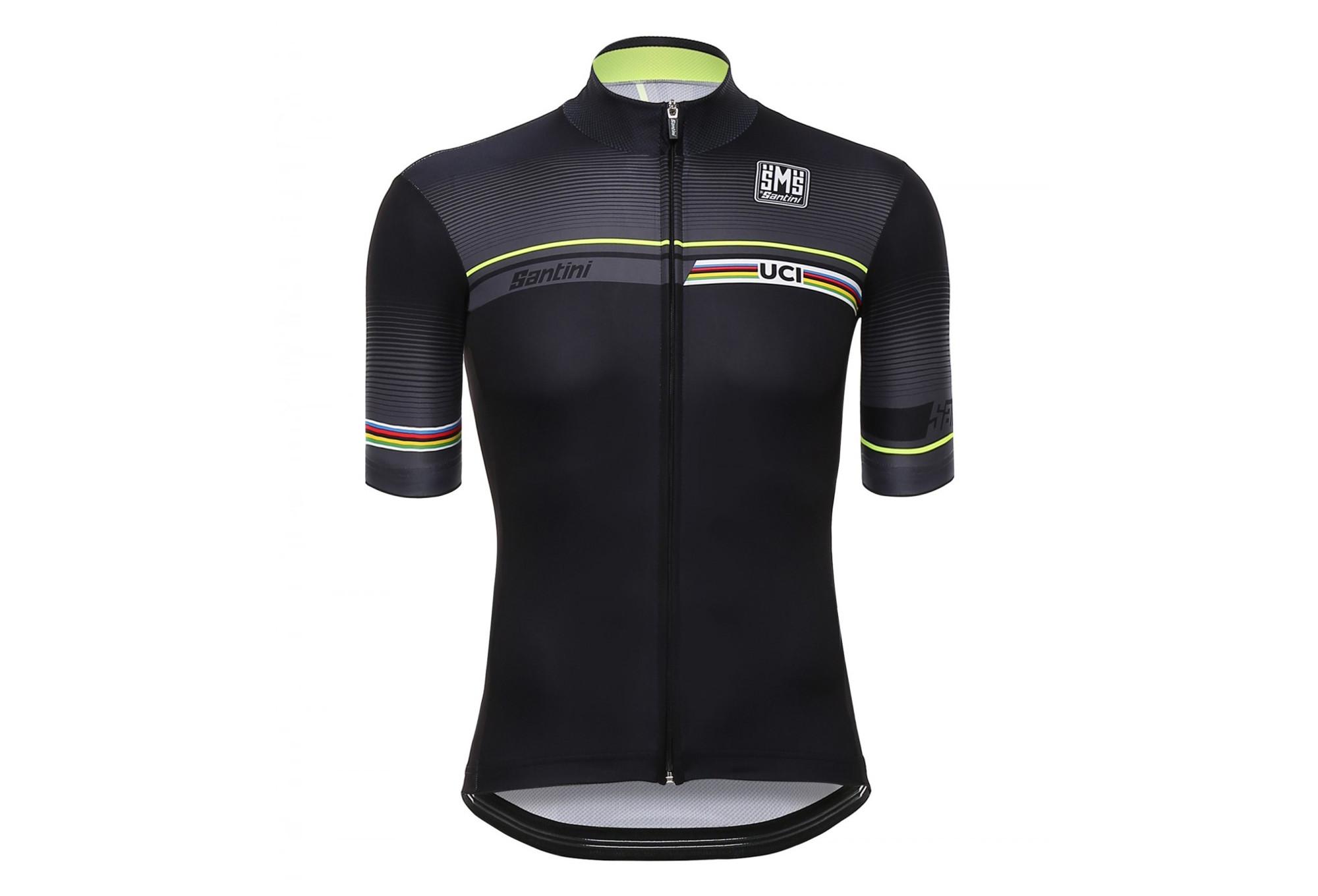 SANTINI Short Sleeve Jersey UCI IRIDE Black Yellow  aeb1182a7