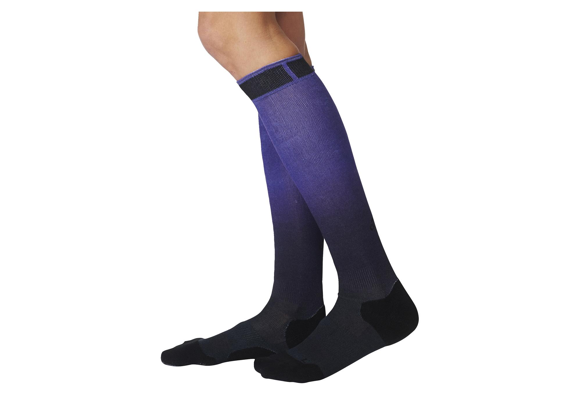 paire de chaussettes hautes femme adidas running energy violet noir. Black Bedroom Furniture Sets. Home Design Ideas