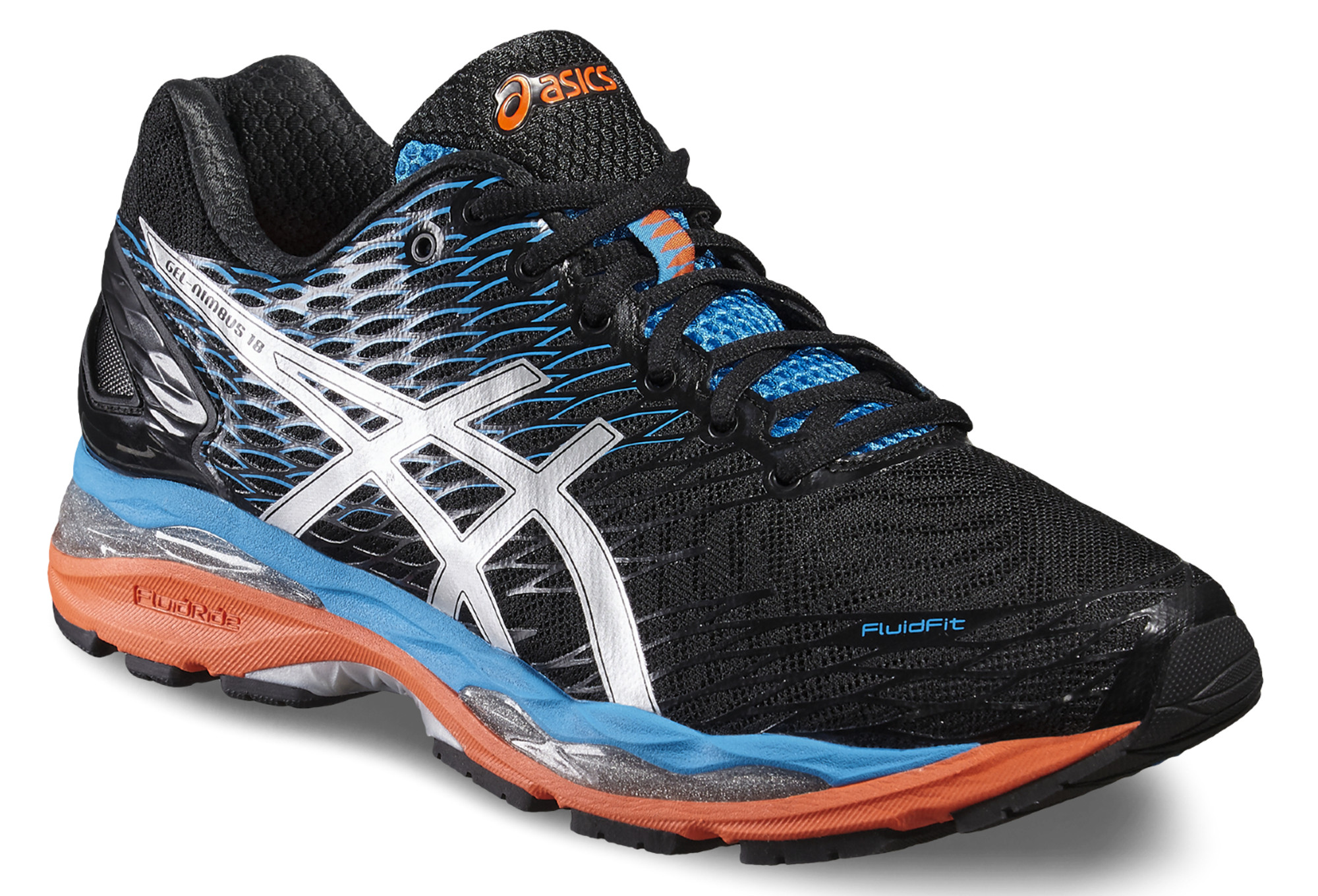 ASICS NIMBUS 18 Noir Bleu Orange