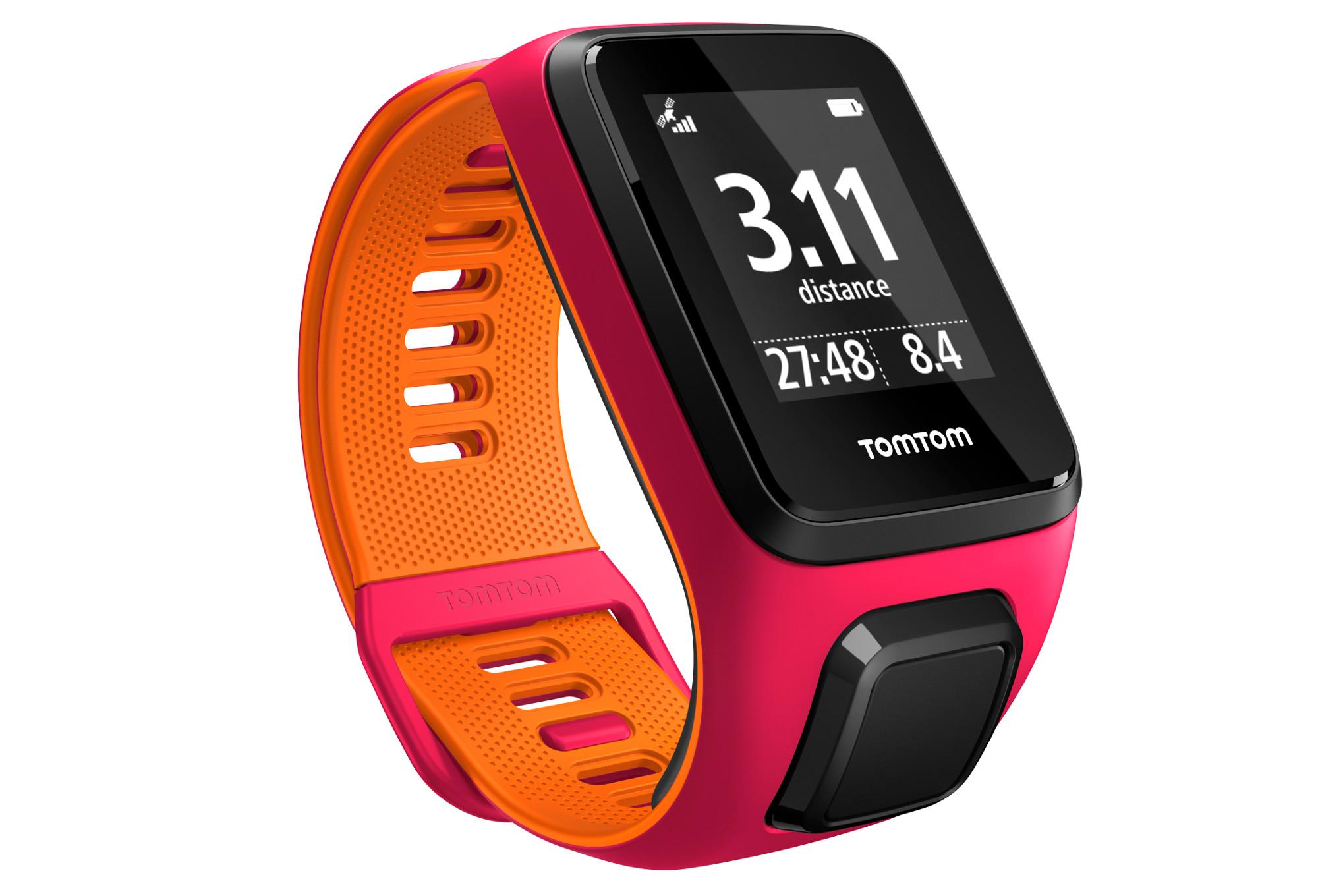 montre gps tomtom runner 3 cardio bracelet fin rose orange. Black Bedroom Furniture Sets. Home Design Ideas