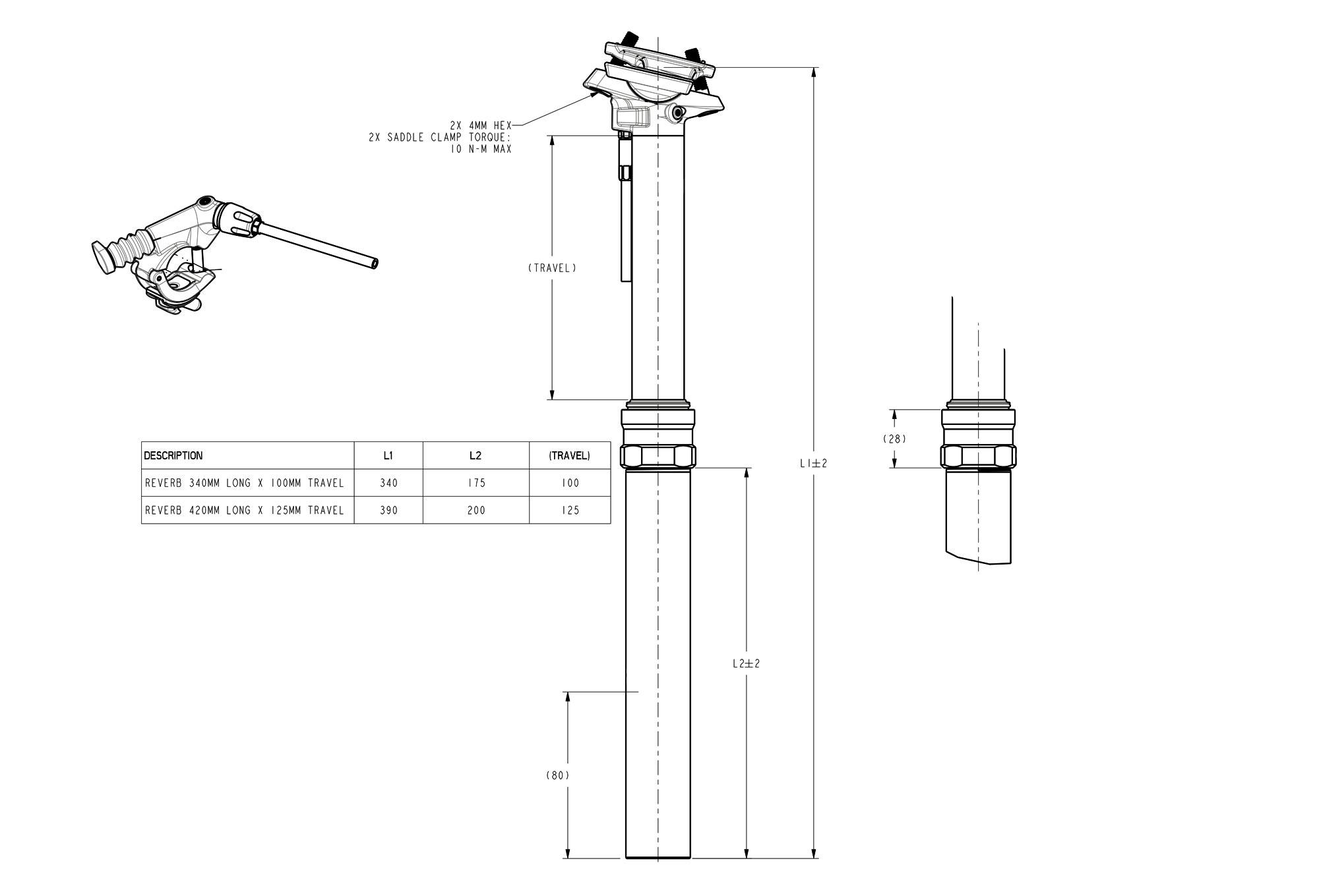 RockShox Reverb Seatpost - /(31.6 x 355 - mm Length/), Right Remote