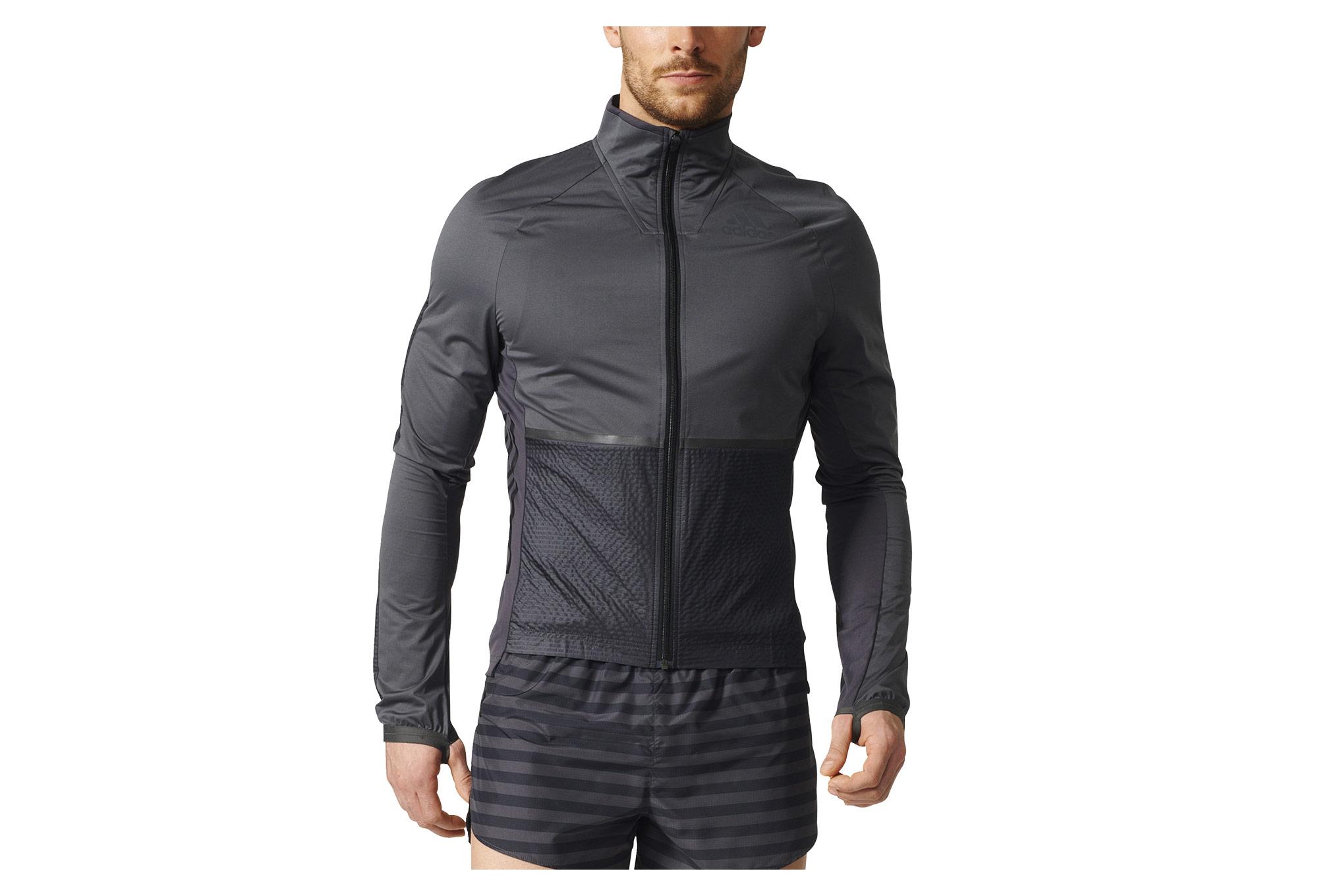 Veste coupe vent imperm able adidas running adizero gris noir - Veste coupe vent adidas femme ...