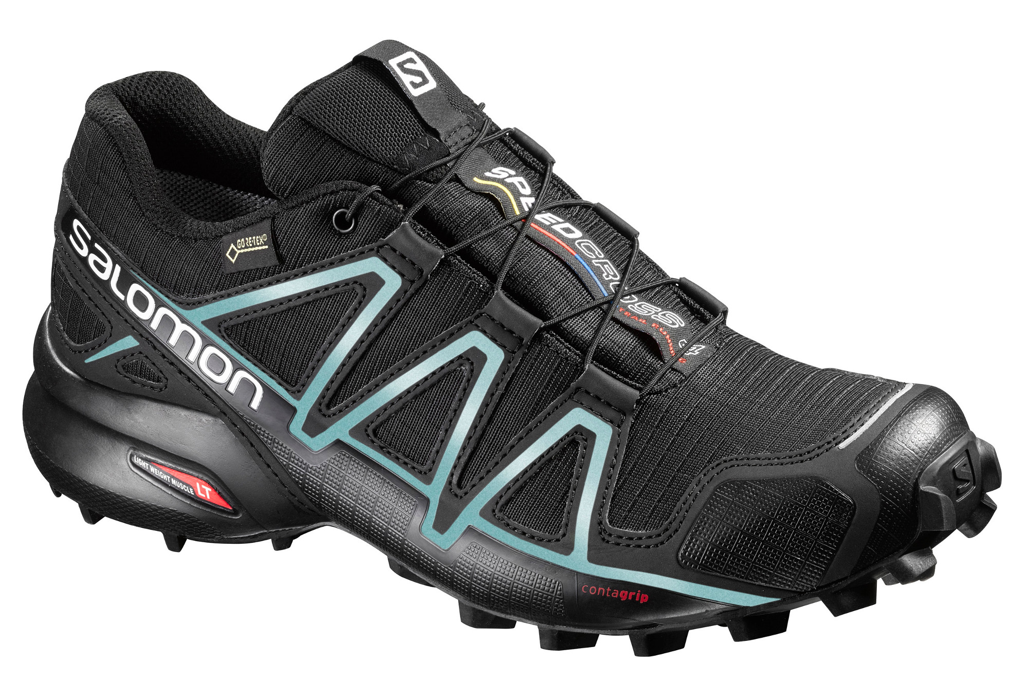 chaussures de trail femme salomon speedcross 4 gtx noir bleu. Black Bedroom Furniture Sets. Home Design Ideas