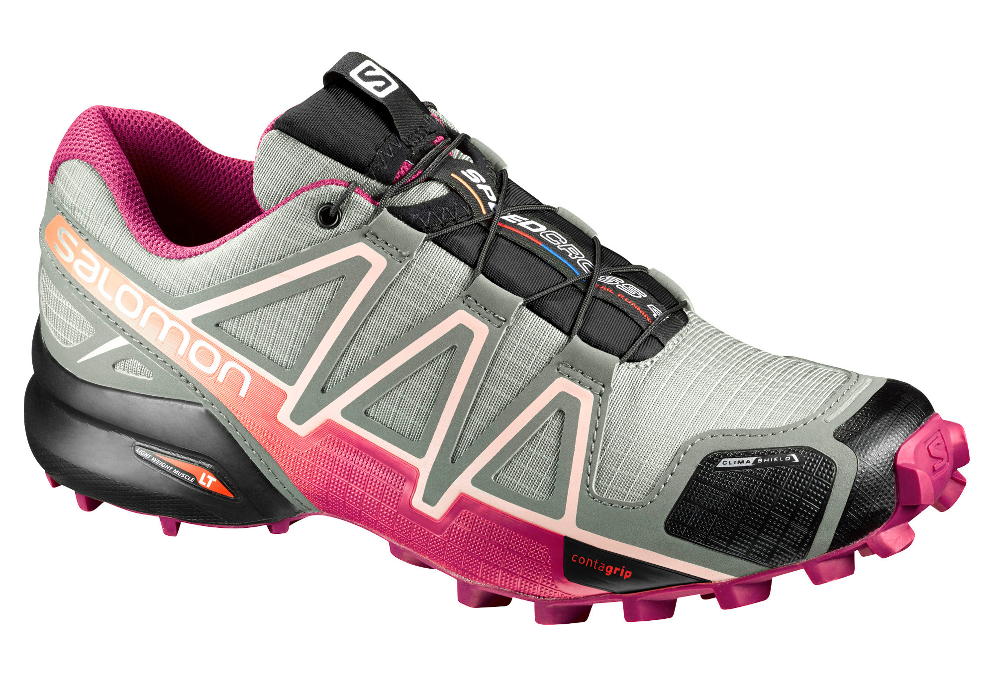 chaussures de trail femme salomon speedcross 4 cs gris rose. Black Bedroom Furniture Sets. Home Design Ideas