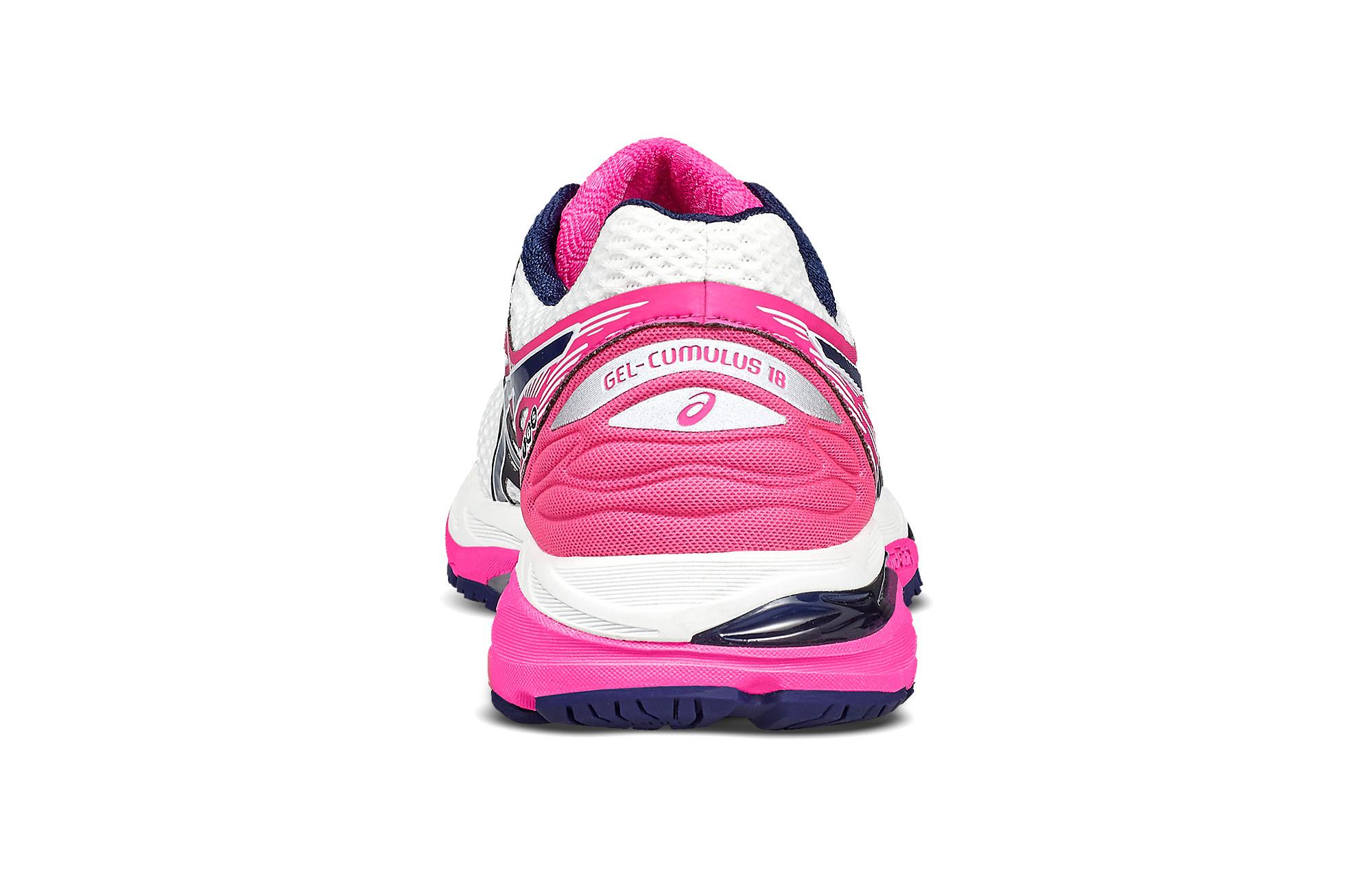 ASICS GEL CUMULUS 18 BLANCHE ET ROSE Chaussures Running femme