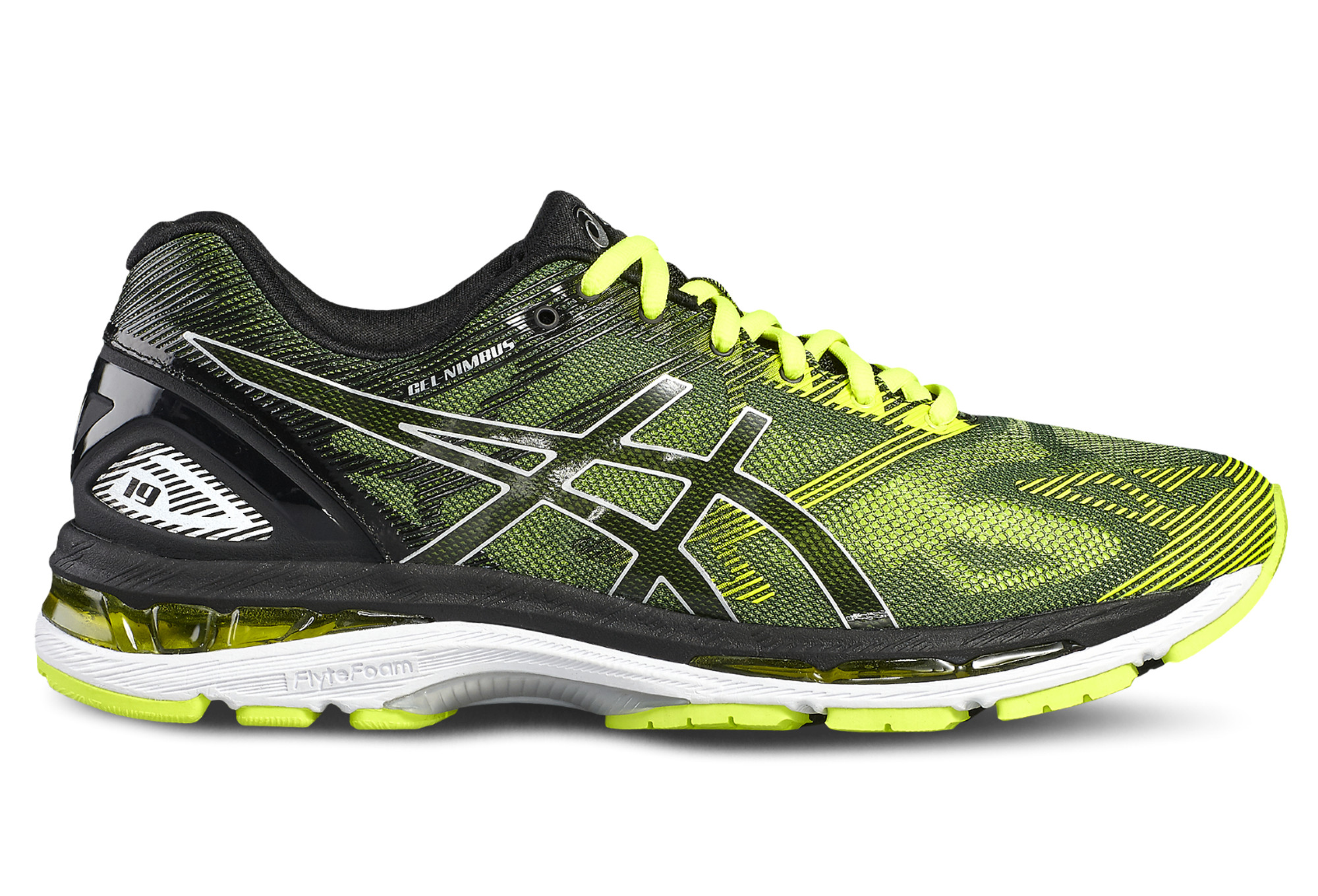 chaussures de running asics gel nimbus 19 noir jaune. Black Bedroom Furniture Sets. Home Design Ideas
