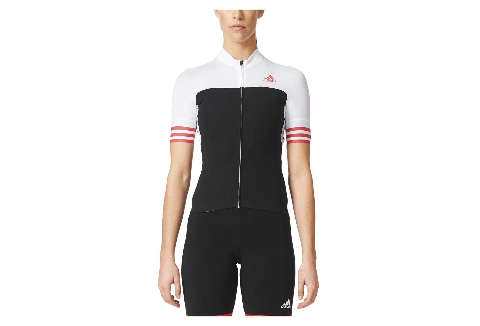 adidas adistar CD.ZERO 3 Short Sleeves Jersey Black White Red Women ... 4ffb7ade2