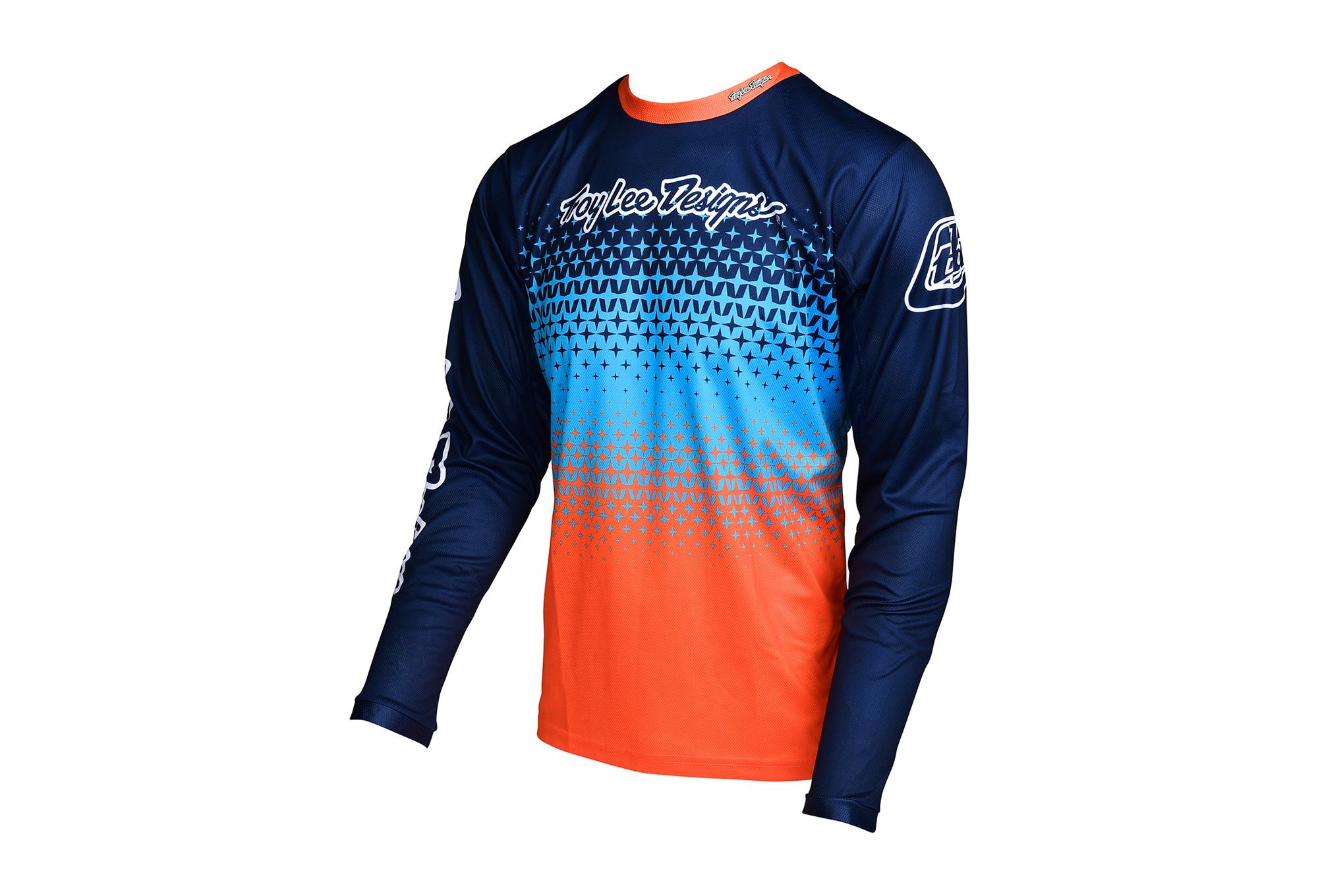 maillot manches longues troy lee designs sprint starburst bleu orange 2017. Black Bedroom Furniture Sets. Home Design Ideas