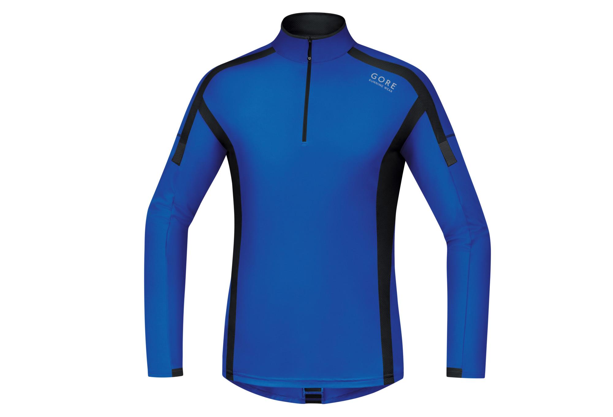 Gore Running Wear Air Long Sleeves Jersey Black Blue  de0b3fe83da