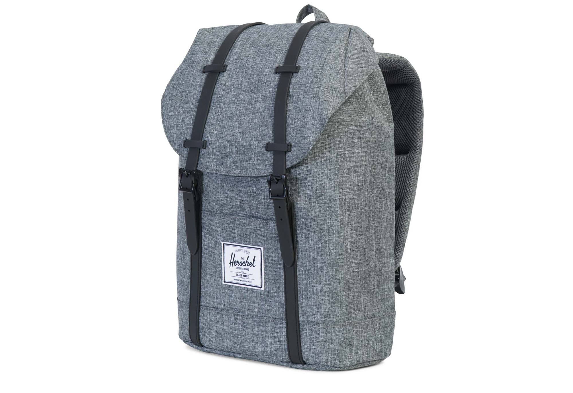 82537d090f78 HERSCHEL Retreat Backpack 19.5L Raven Crosshatch Black Rubber ...
