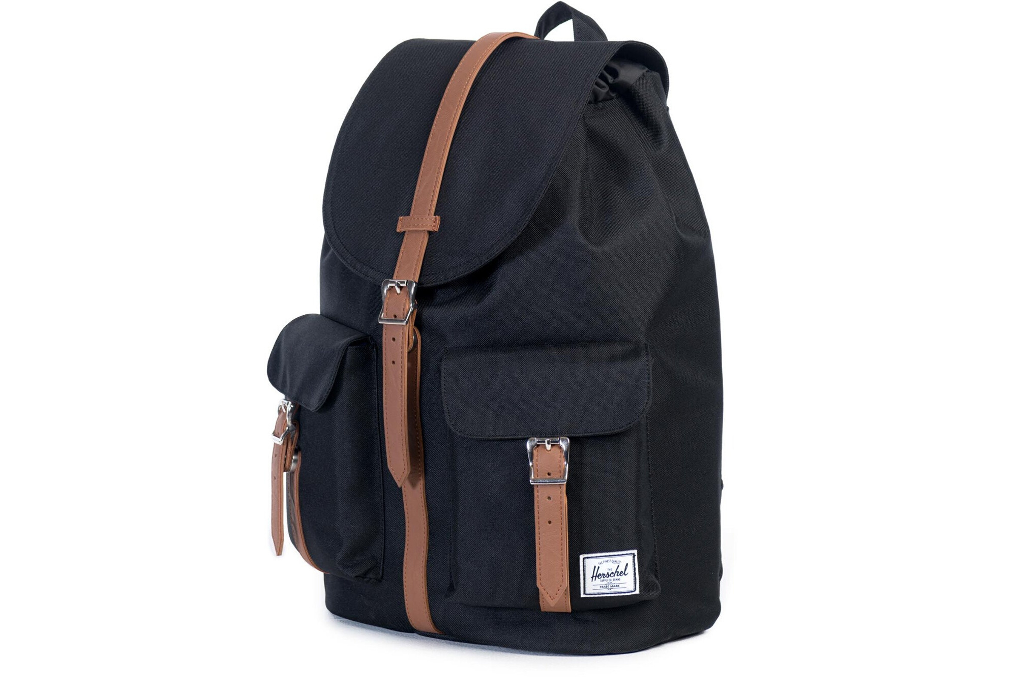 748ba2cb864 HERSCHEL Dawson Backpack 20.5L Black   Tan Synthetic Leather ...