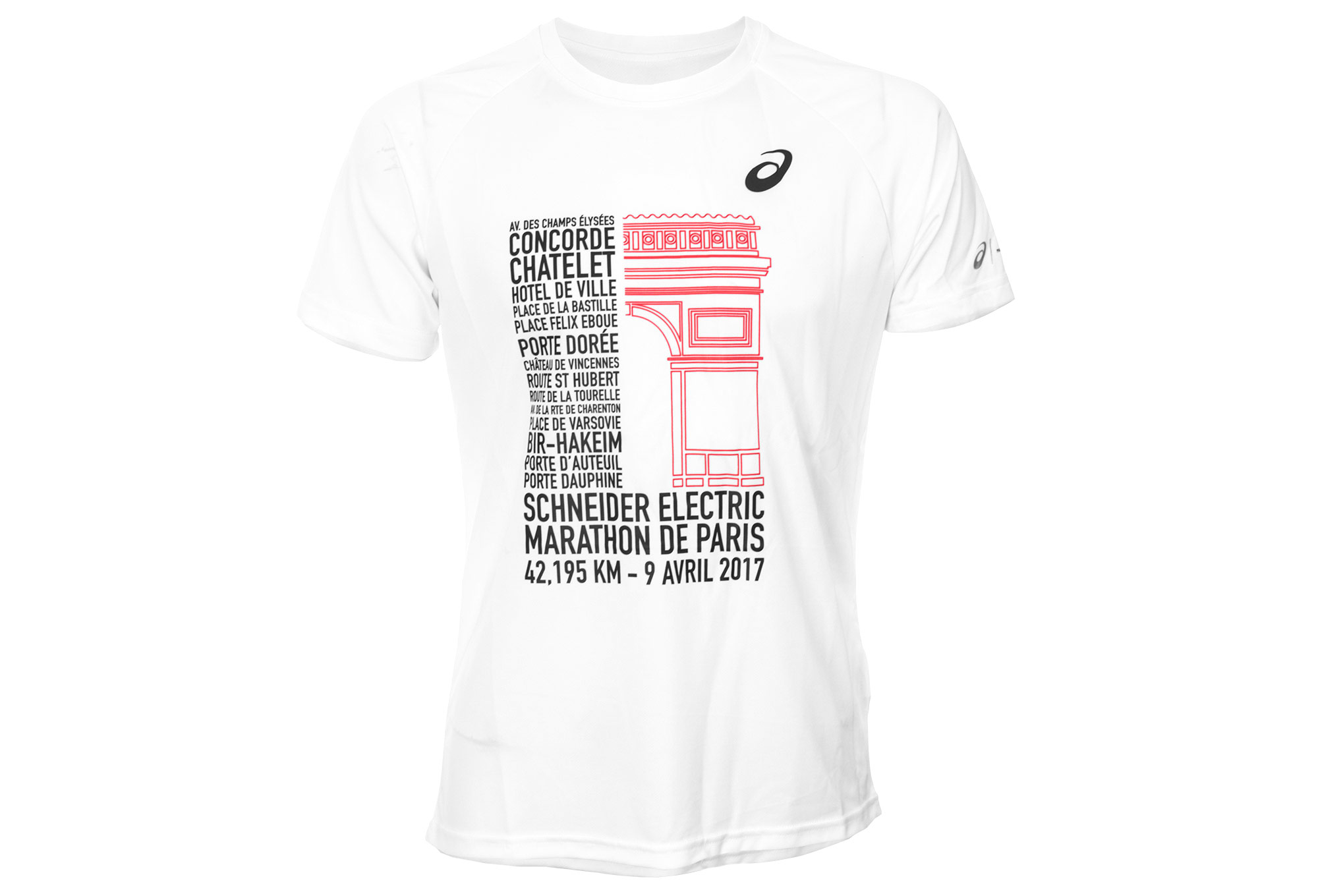 Asics jersey printed schneider marathon de paris white for Marathon t shirt printing