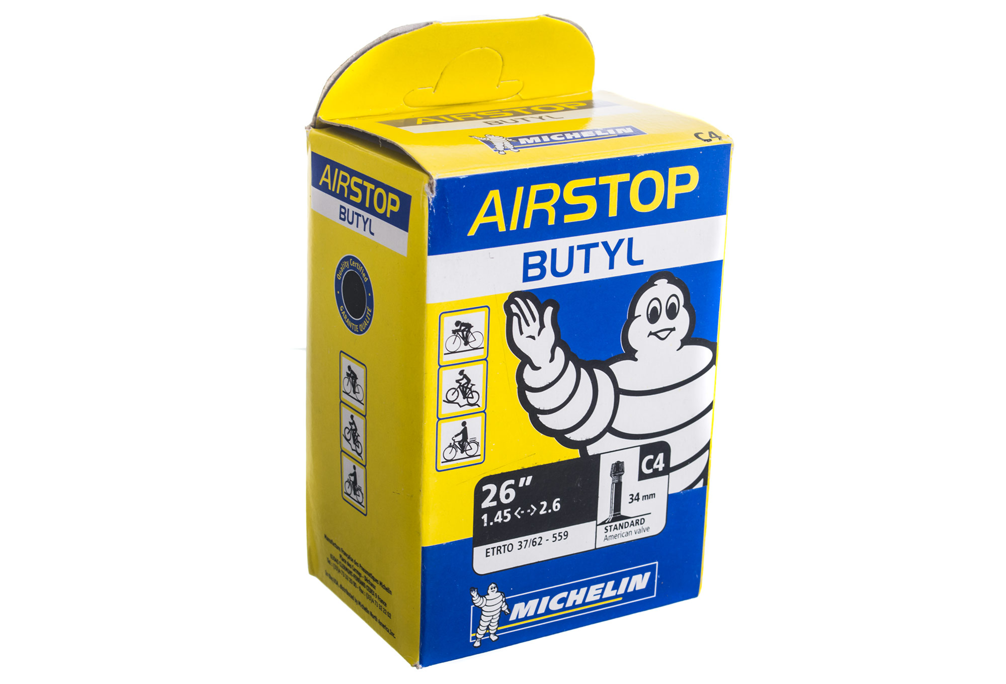 Michelin c4 airstop butyl mtb bike tube for Chambre a air 26x1 75