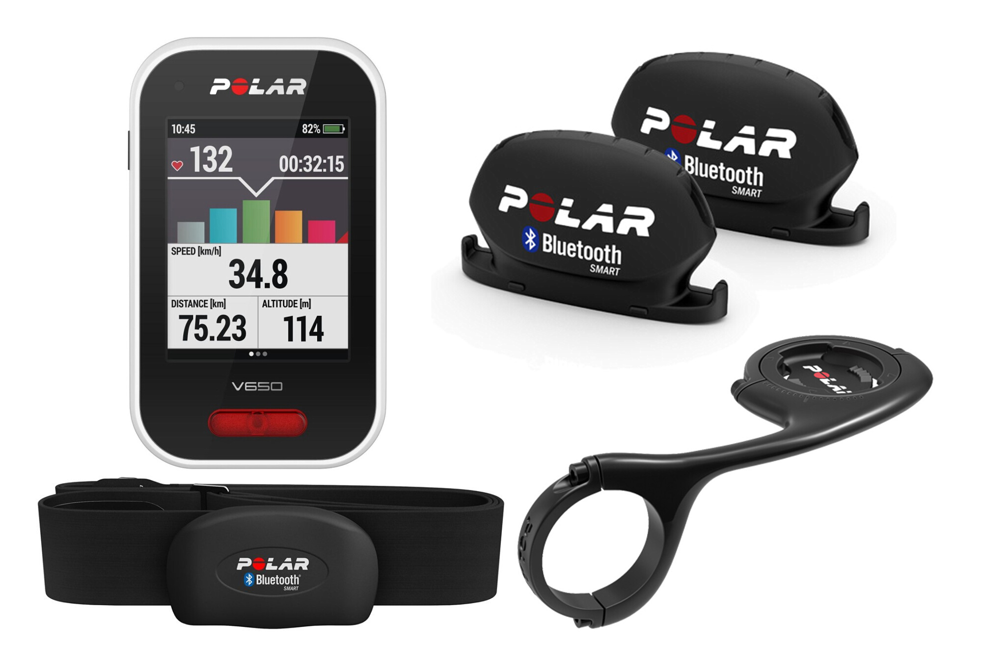 gps polar v650 hrm with map cadence sensor front support deporte. Black Bedroom Furniture Sets. Home Design Ideas