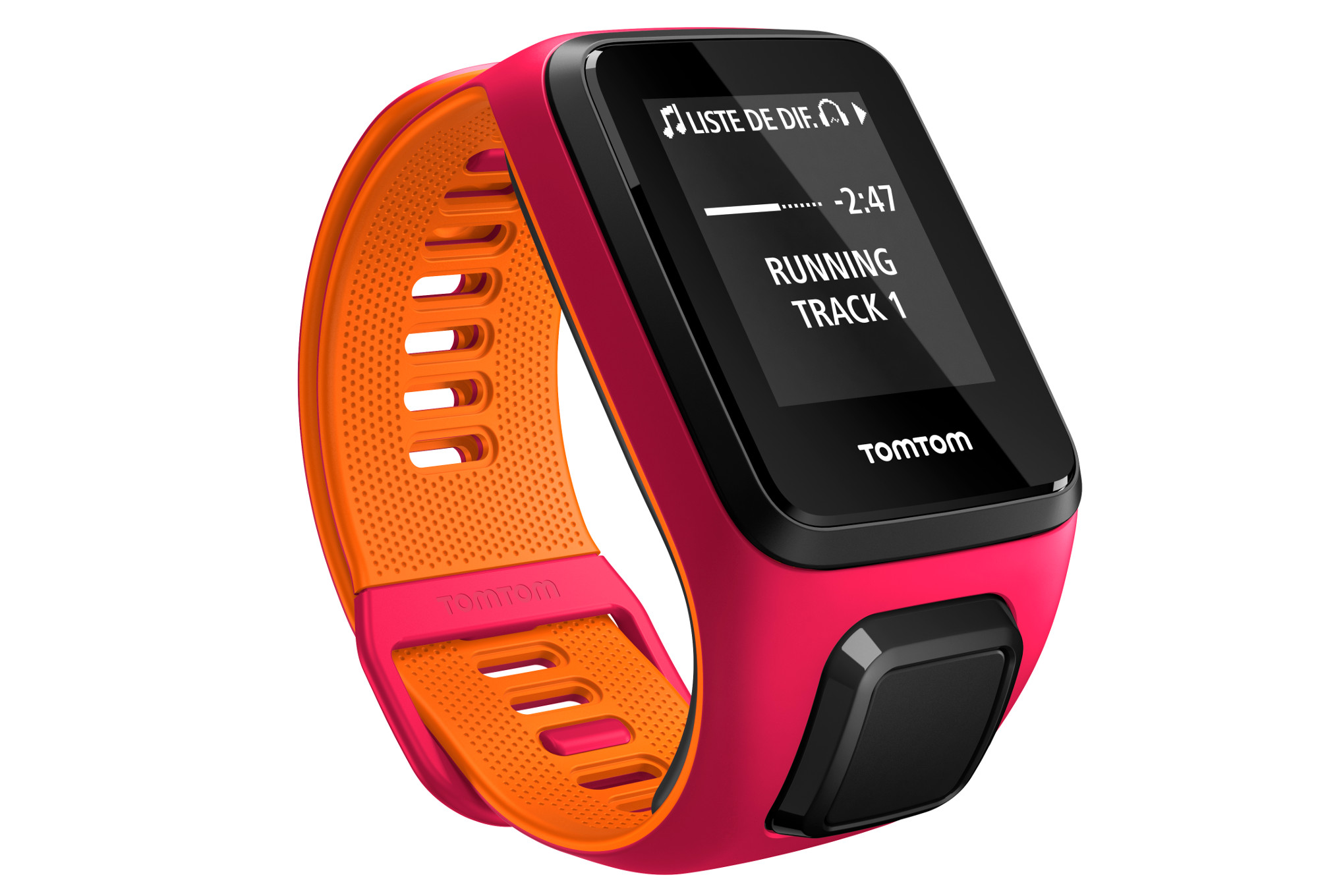 montre gps tomtom runner 3 cardio music bracelet fin orange rose. Black Bedroom Furniture Sets. Home Design Ideas