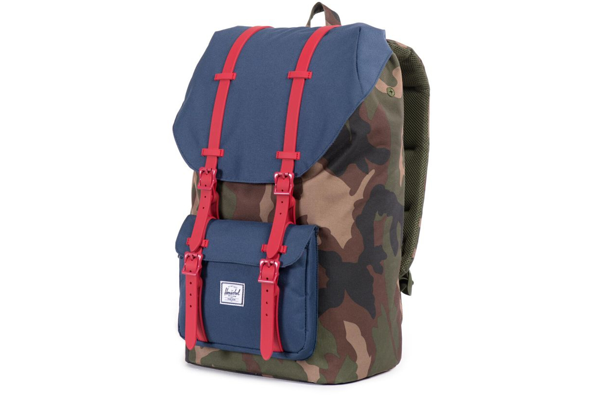 00b7988f51a Sac à Dos HERSCHEL Little America 25L Woodland Camo   Navy   Red Rubber